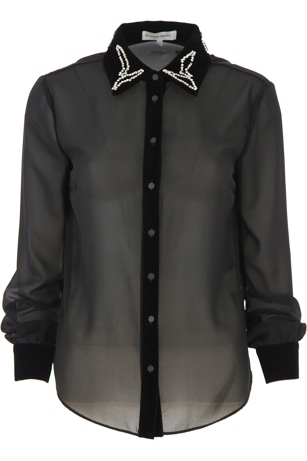 Silvian Heach Shirt for Women On Sale, Black, polyester, 2019, 2 4 6