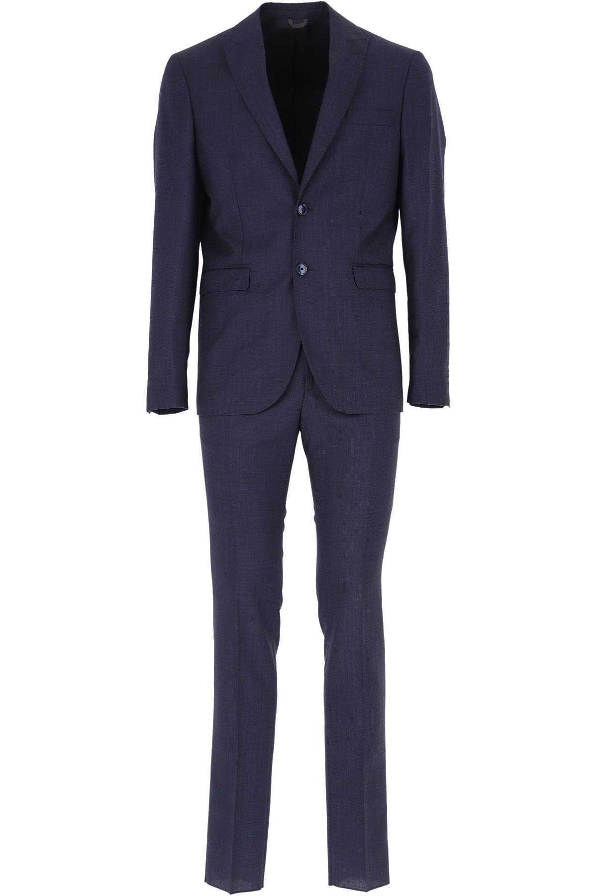 Simbols Men's Suit On Sale, Dark Ocean Blue, Virgin wool, 2019, L M S XL XXL XXXL