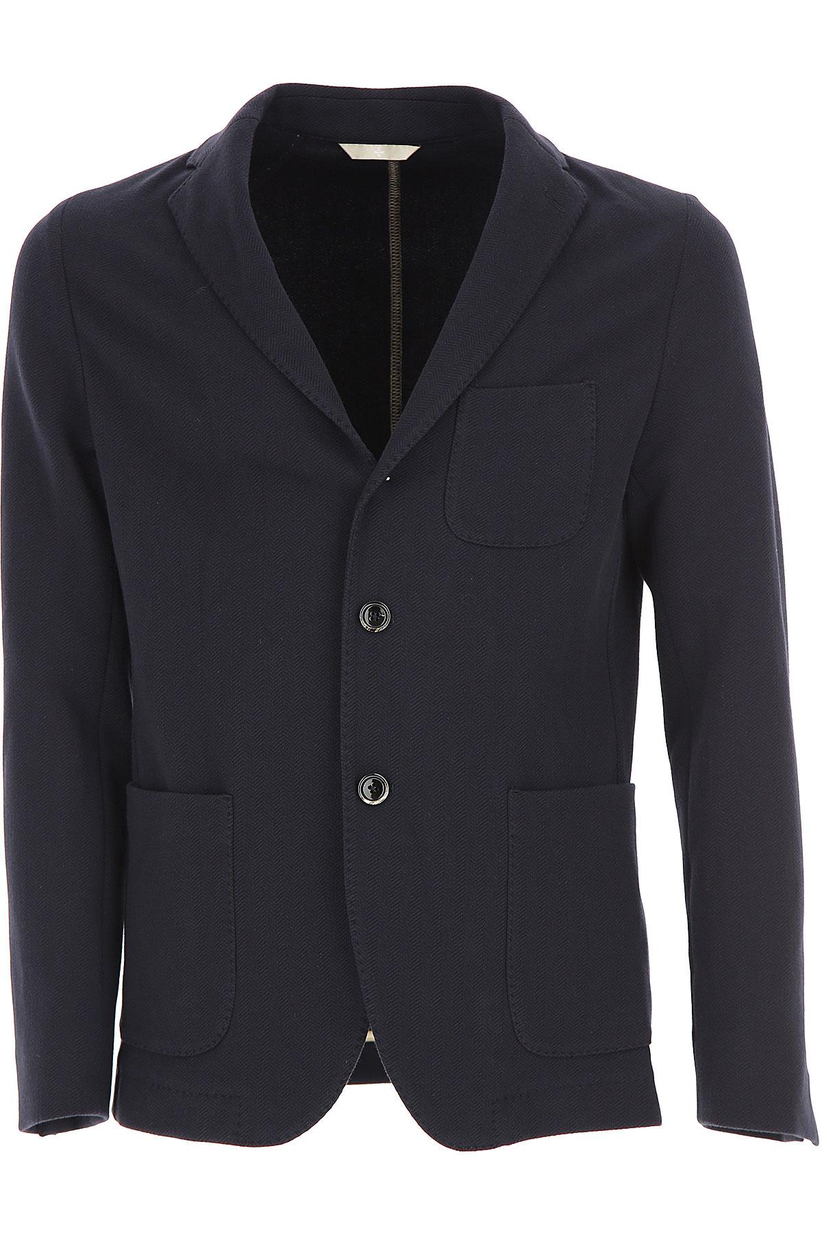 Simbols Blazer for Men, Sport Coat On Sale, Blue Navy, Cotton, 2019, L M XXL