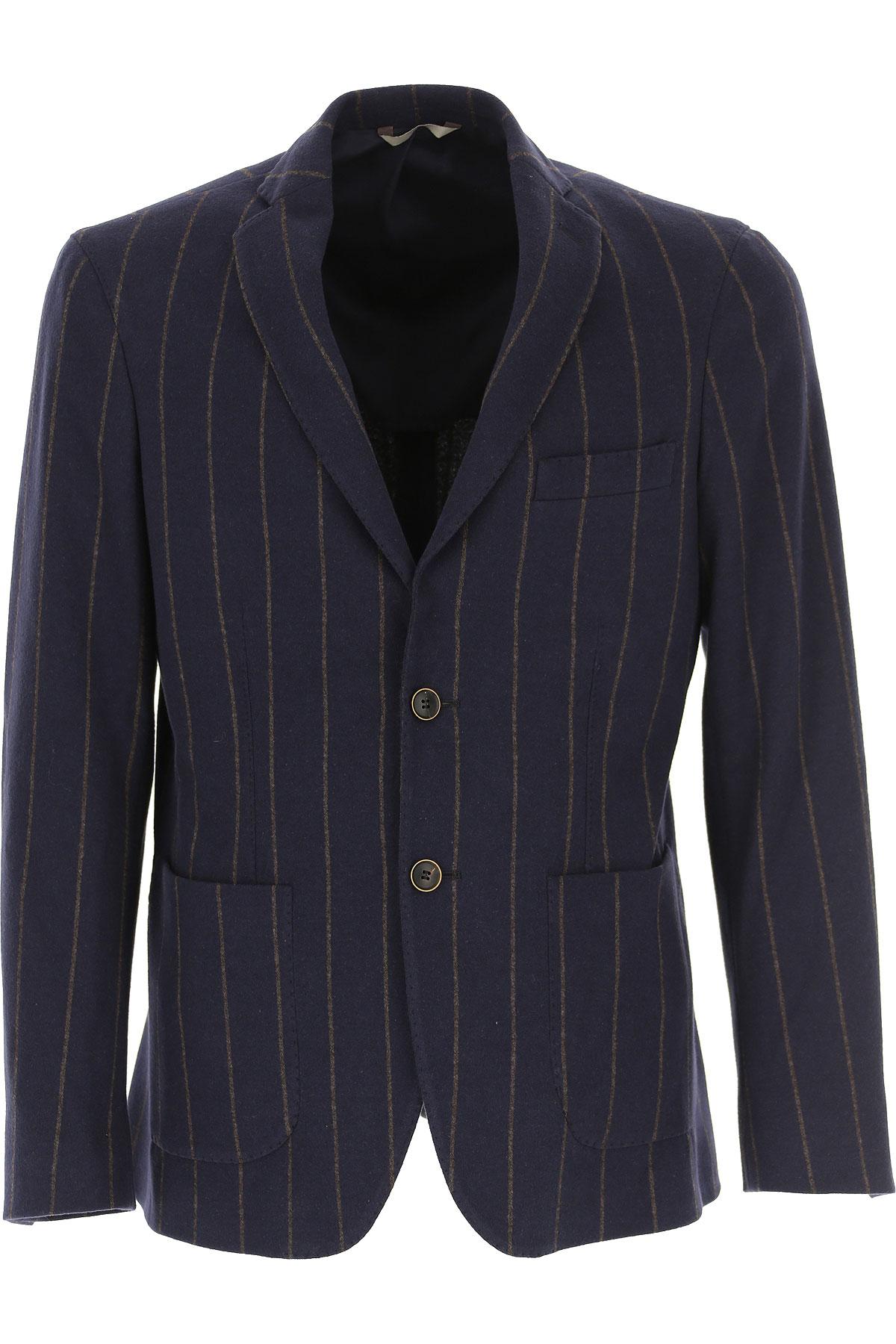 Simbols Blazer for Men, Sport Coat, Dark Navy Blue, Cotton, 2019, L M S