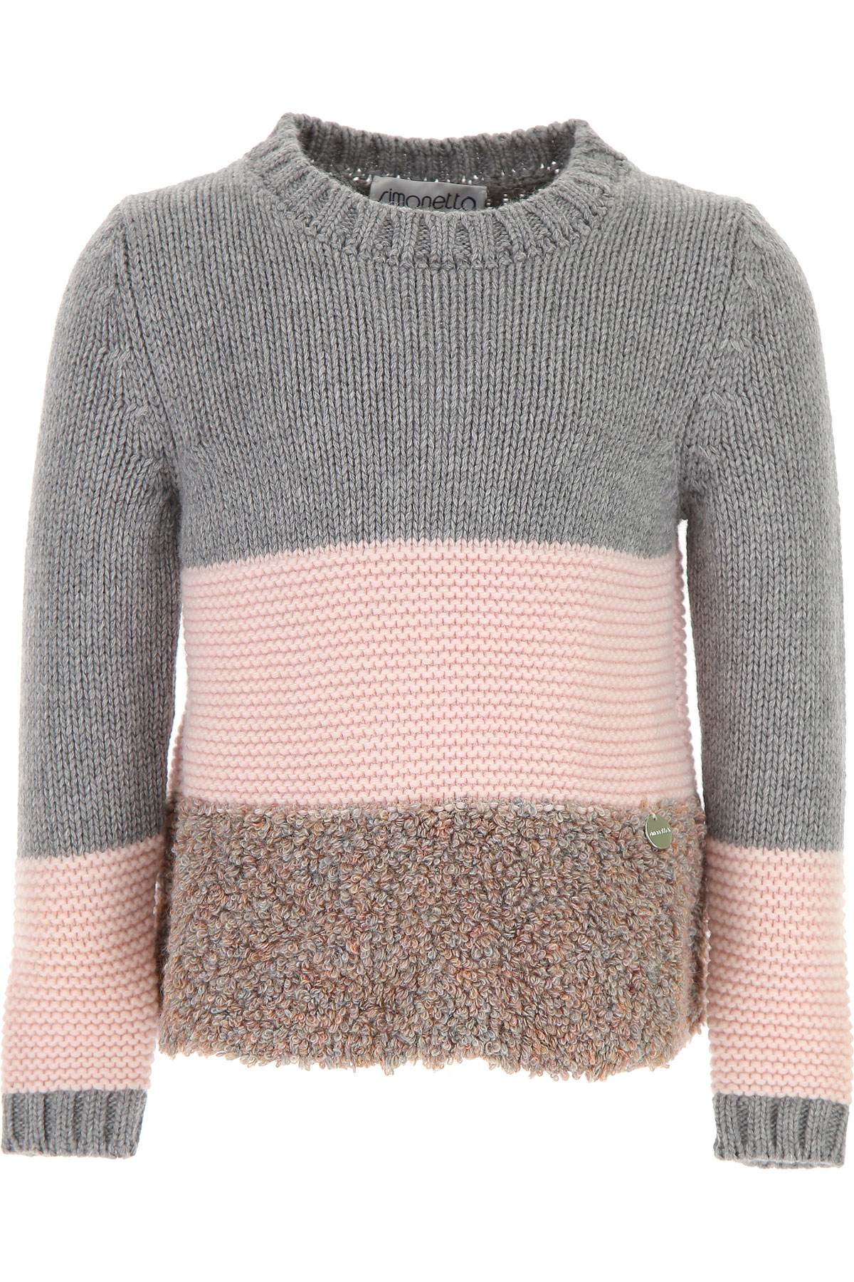 Image of Simonetta Kids Sweaters for Girls, Grey, Virgin wool, 2017, 2Y 4Y 6Y 8Y