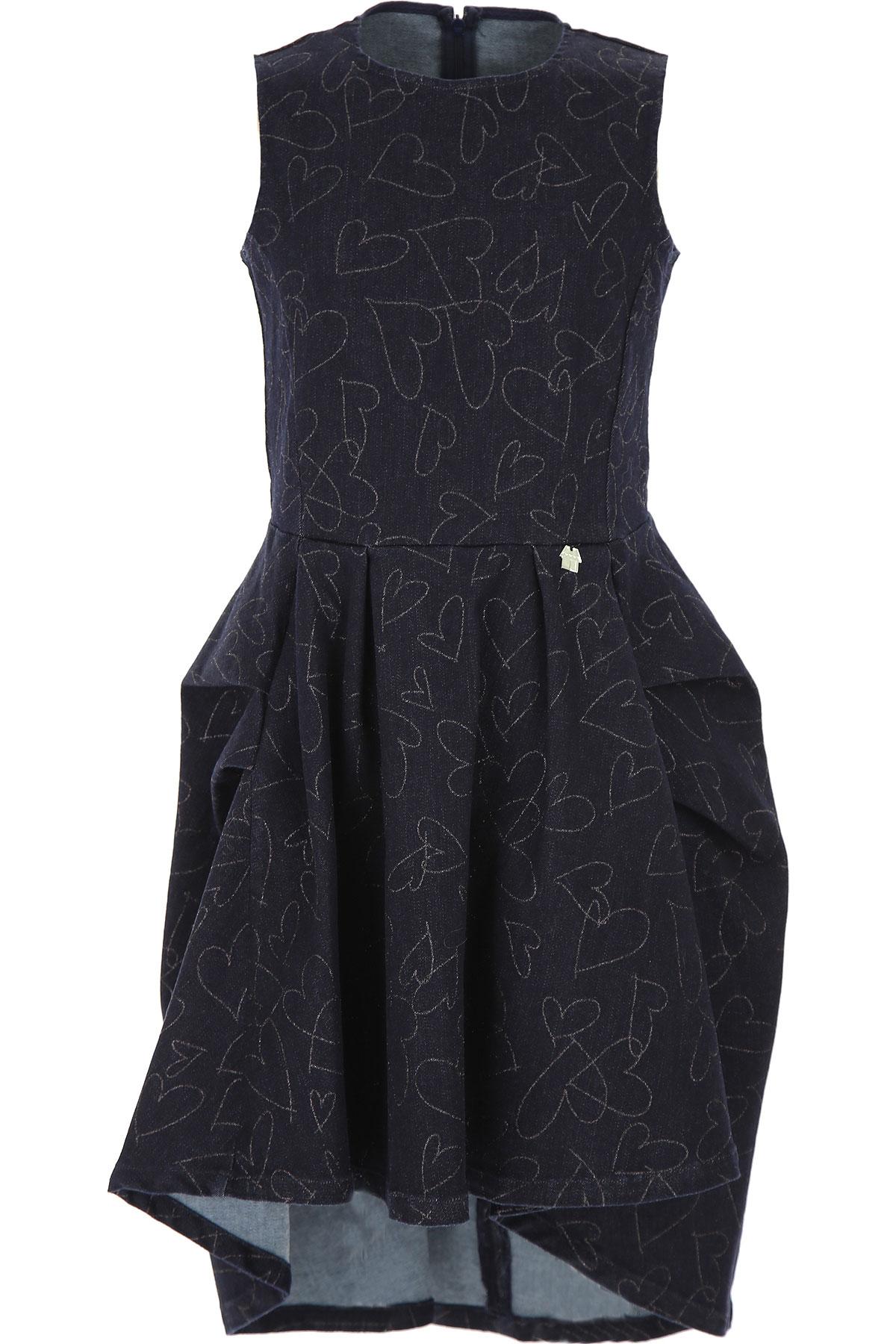 Simonetta Girls Dress On Sale, Blue Denim, Cotton, 2019, 10Y 12Y 14Y 4Y 6Y 8Y