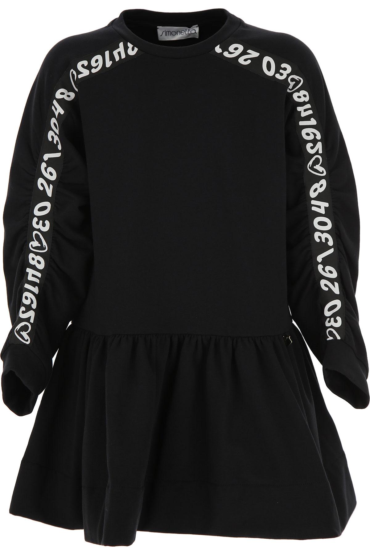 Simonetta Girls Dress On Sale, Black, Cotton, 2019, 10Y 6Y 8Y