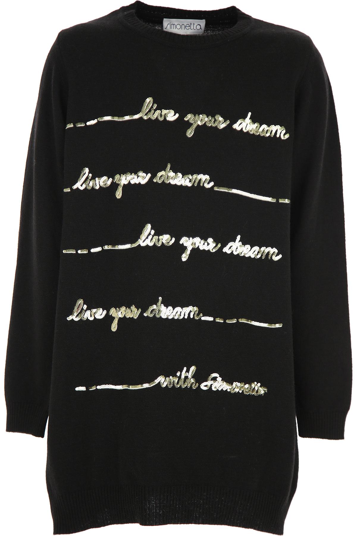 Simonetta Girls Dress On Sale, Black, Virgin wool, 2019, 10Y 12Y 14Y 16Y 8Y