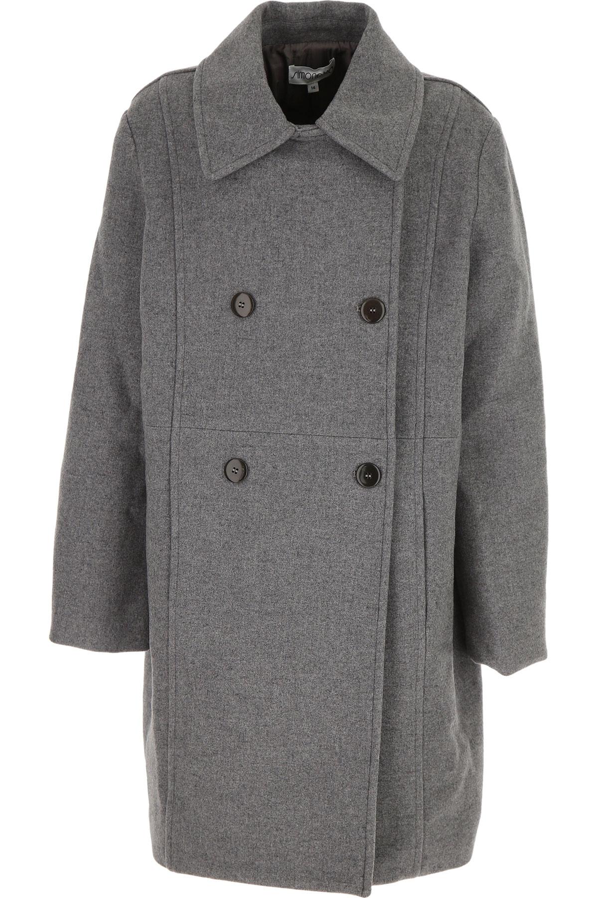 Simonetta {DESIGNER} Kids Coat for Girls On Sale, Grey, Virgin wool, 2019, 14Y 16Y