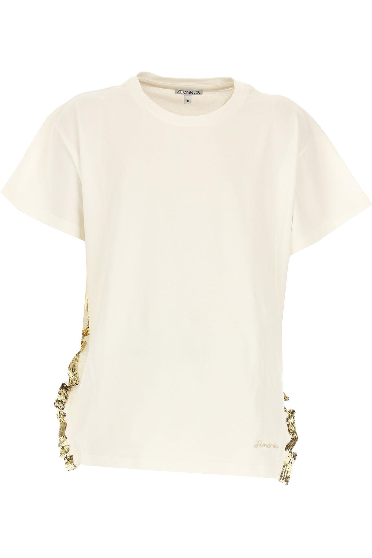Simonetta T-Shirt Enfant pour Fille Pas cher en Soldes, Blanc, Coton, 2019, 6Y 8Y