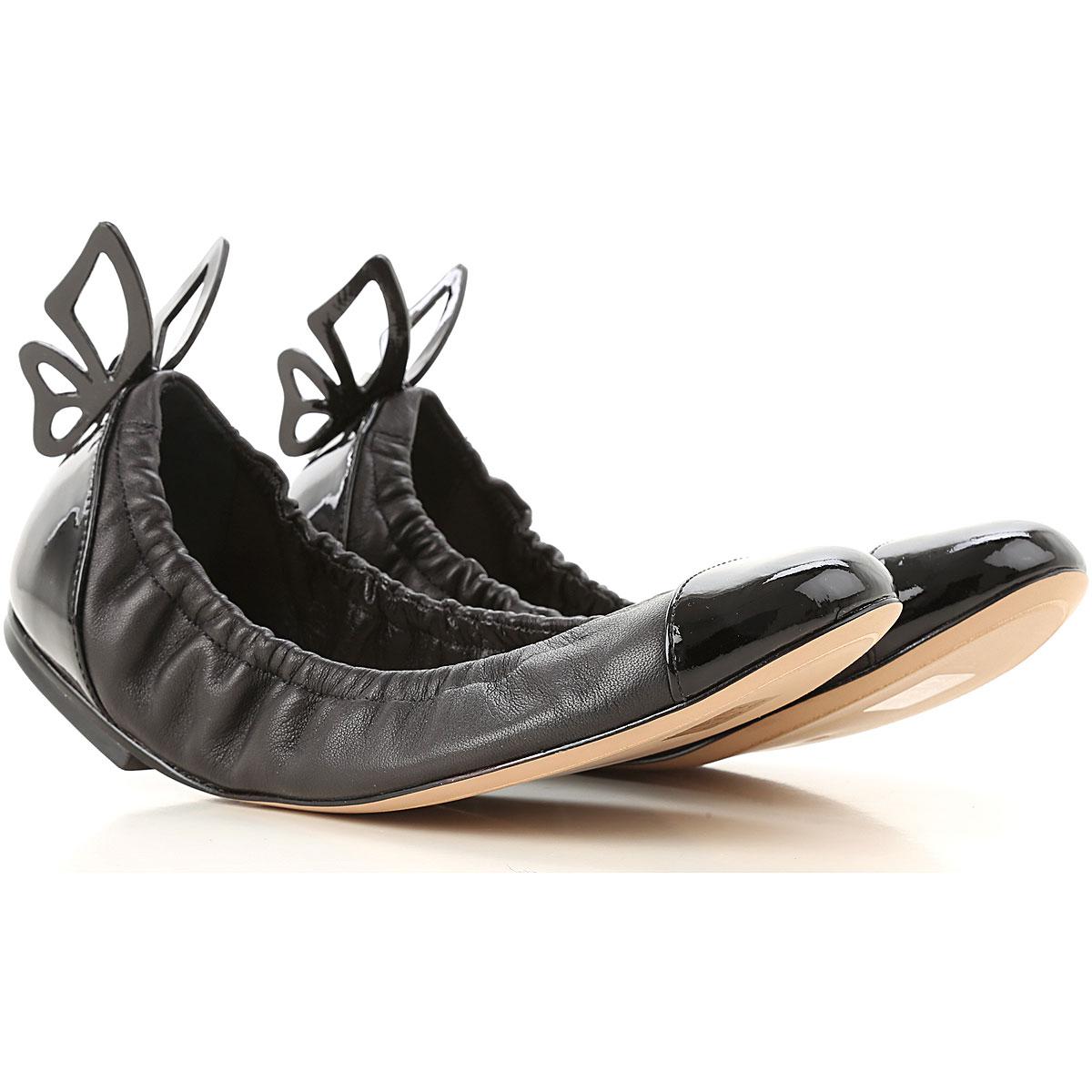 Image of Sophia Webster Ballet Flats Ballerina Shoes for Women, Black, Leather, 2017, 5 6 7 8