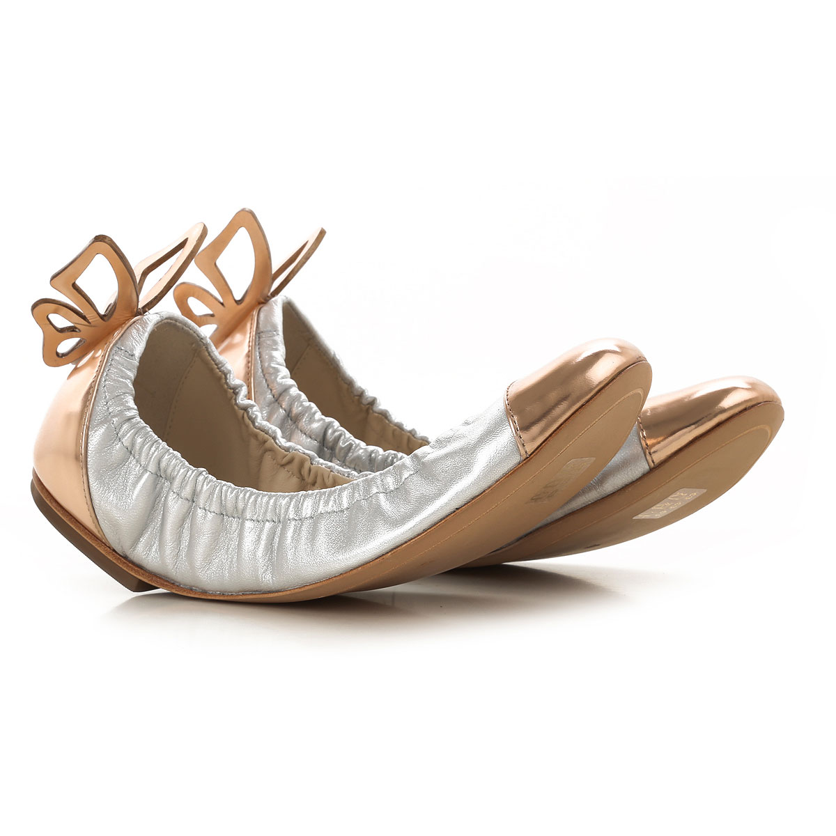 Image of Sophia Webster Ballet Flats Ballerina Shoes for Women, Silver, Leather, 2017, 5 6 7 8