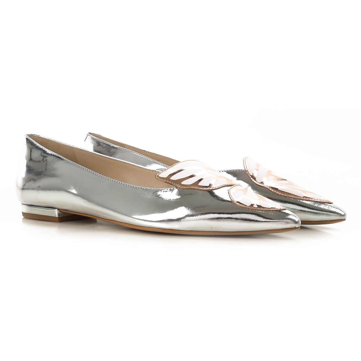 Image of Sophia Webster Ballet Flats Ballerina Shoes for Women, Silver, Mirror Leather, 2017, 5 5.5