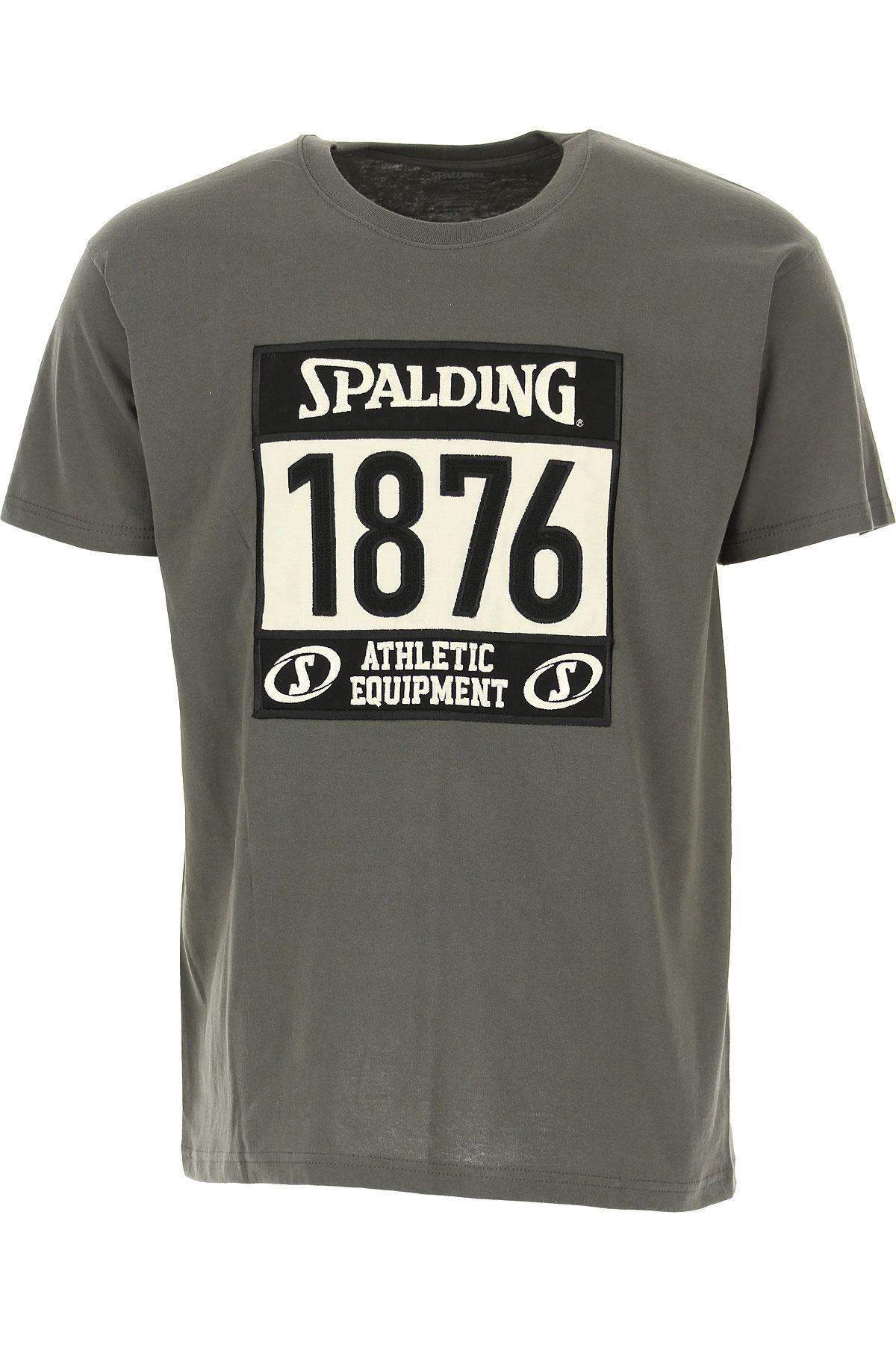 Spalding T-Shirt for Men, Lead Grey, Cotton, 2019, M XL