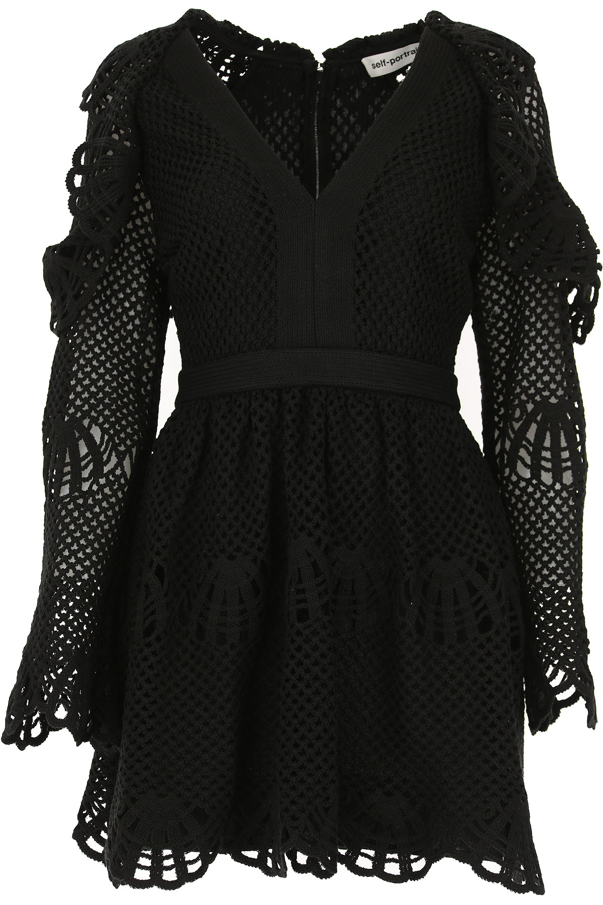 Self-portrait Dress for Women, Evening Cocktail Party On Sale in Outlet, Black, Cotton, 2019, XS - UK 6 - IT 38