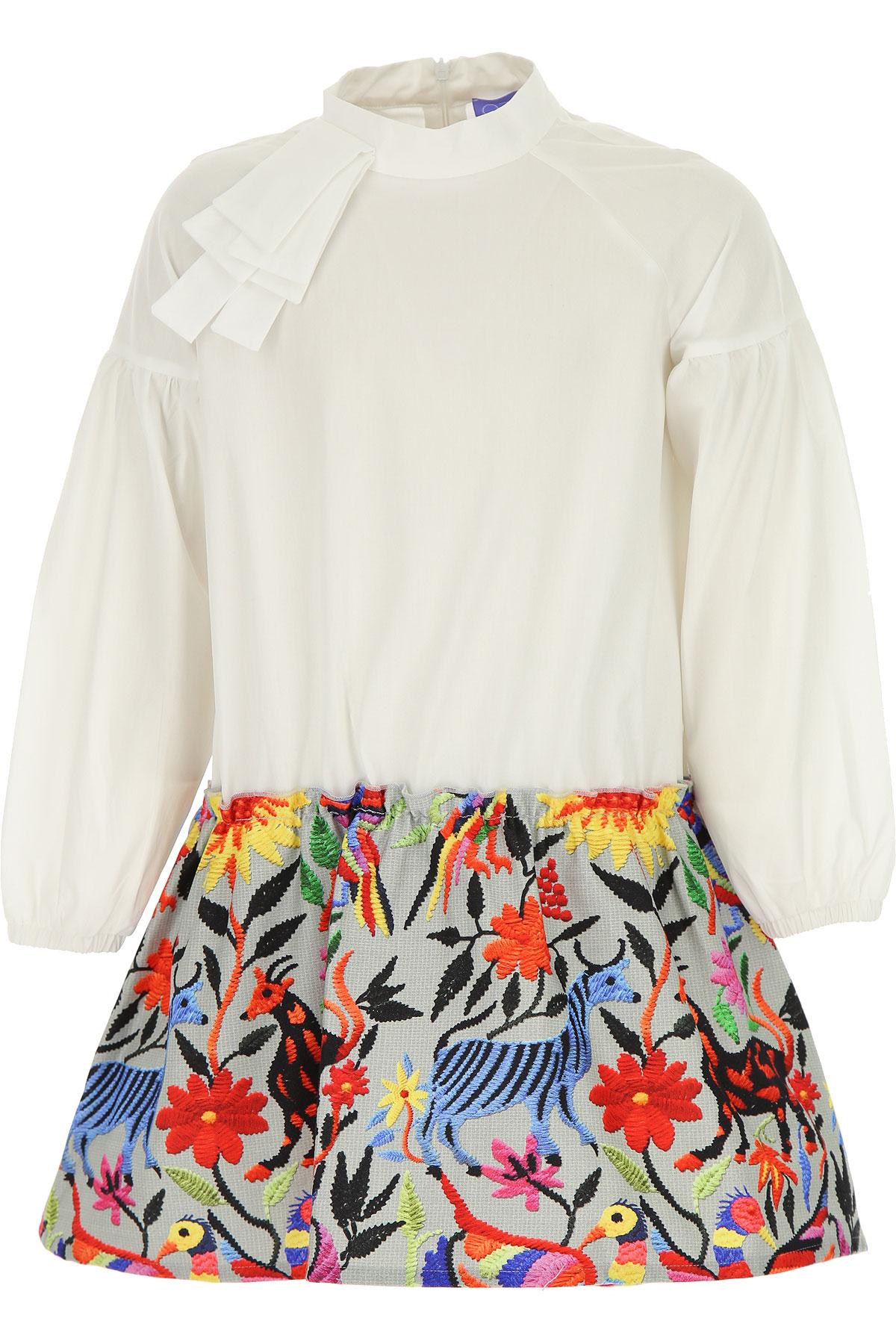 Stella Jean Girls Dress On Sale, White, Cotton, 2019, 10Y 4Y 6Y 8Y