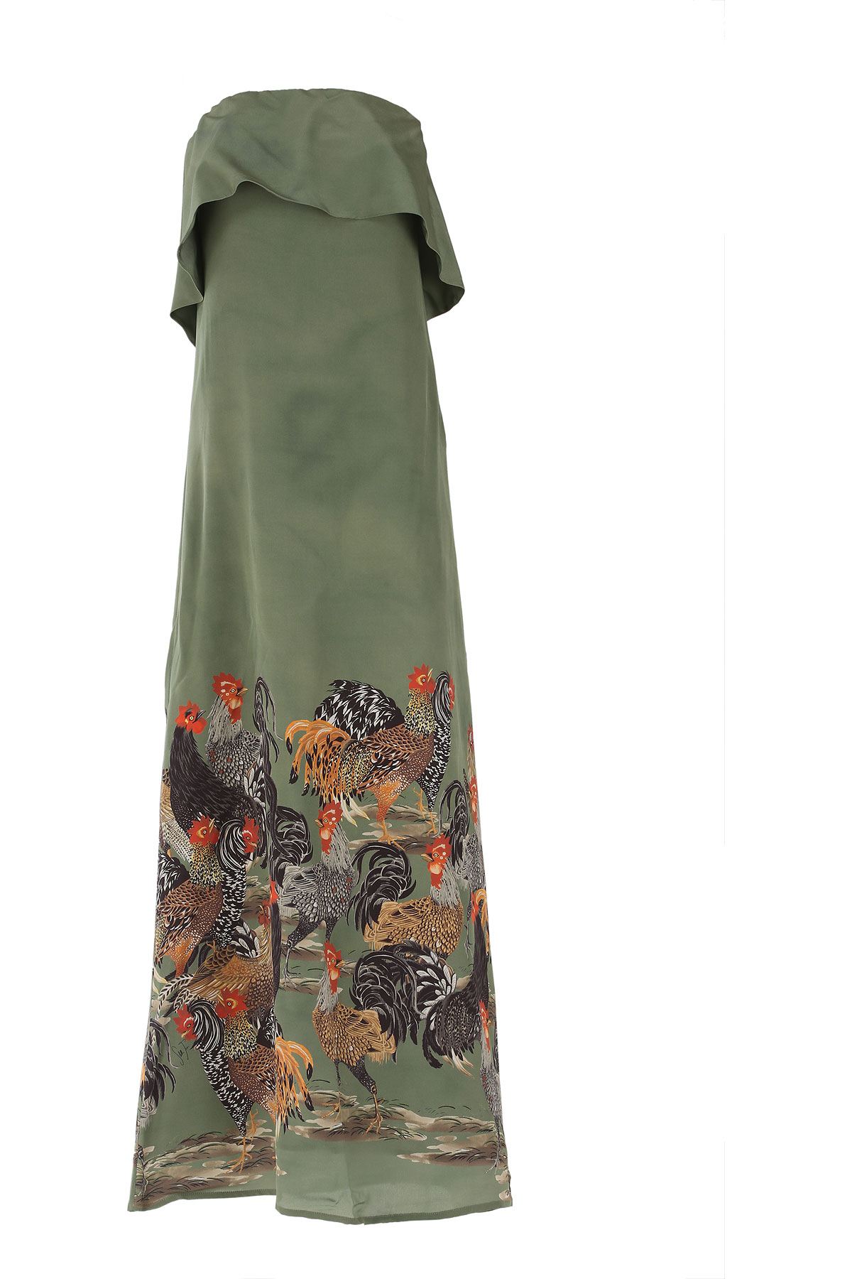 Image of Stella Jean Dress for Women, Evening Cocktail Party On Sale, Military, Cotton, 2017, 4 6