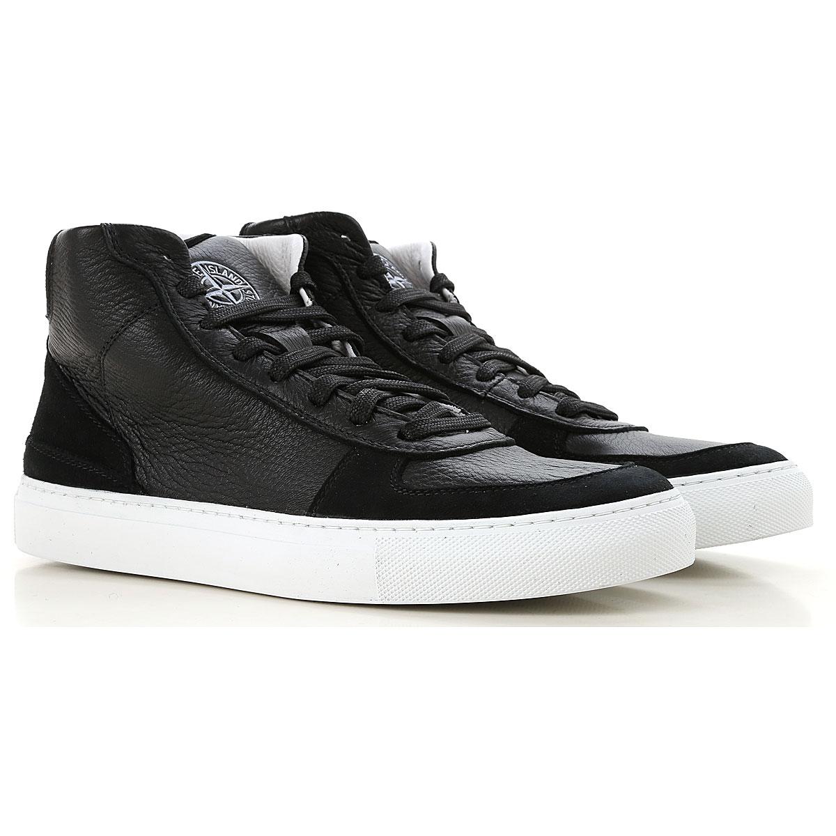 Stone Island Sneaker Homme, Noir, Cuir, 2017, 40 41 42 43 44