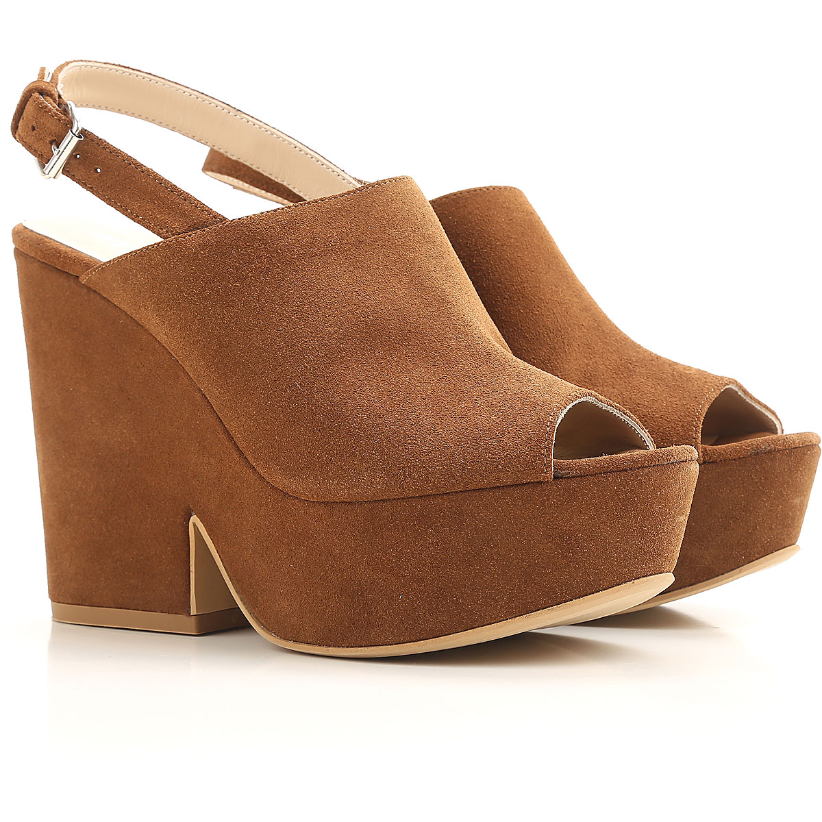Strategia Wedges for Women On Sale in Outlet, Tobacco, Suede leather, 2019, 5.5 6.5