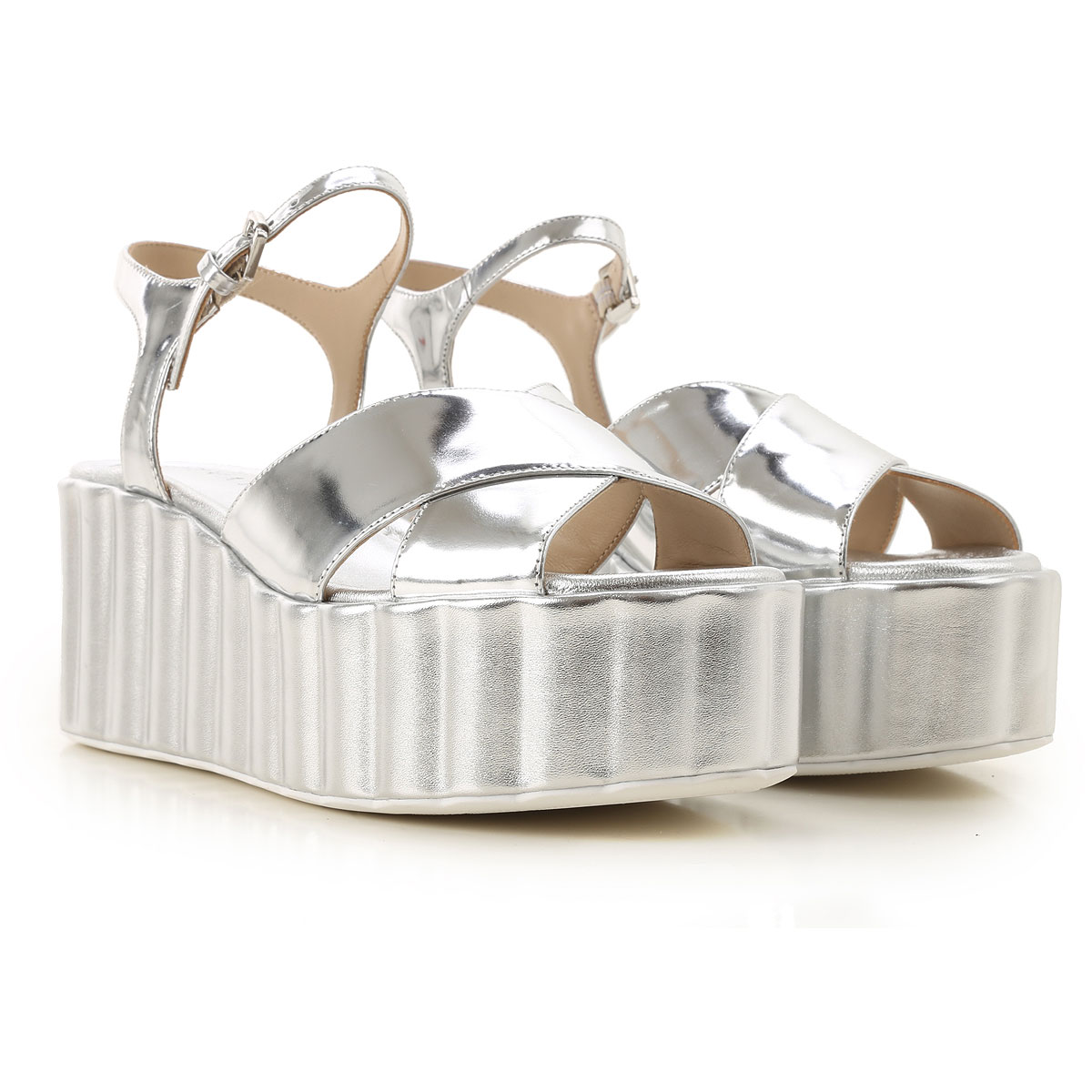 Strategia Wedges for Women On Sale in Outlet, Silver, Leather, 2019, 10 7