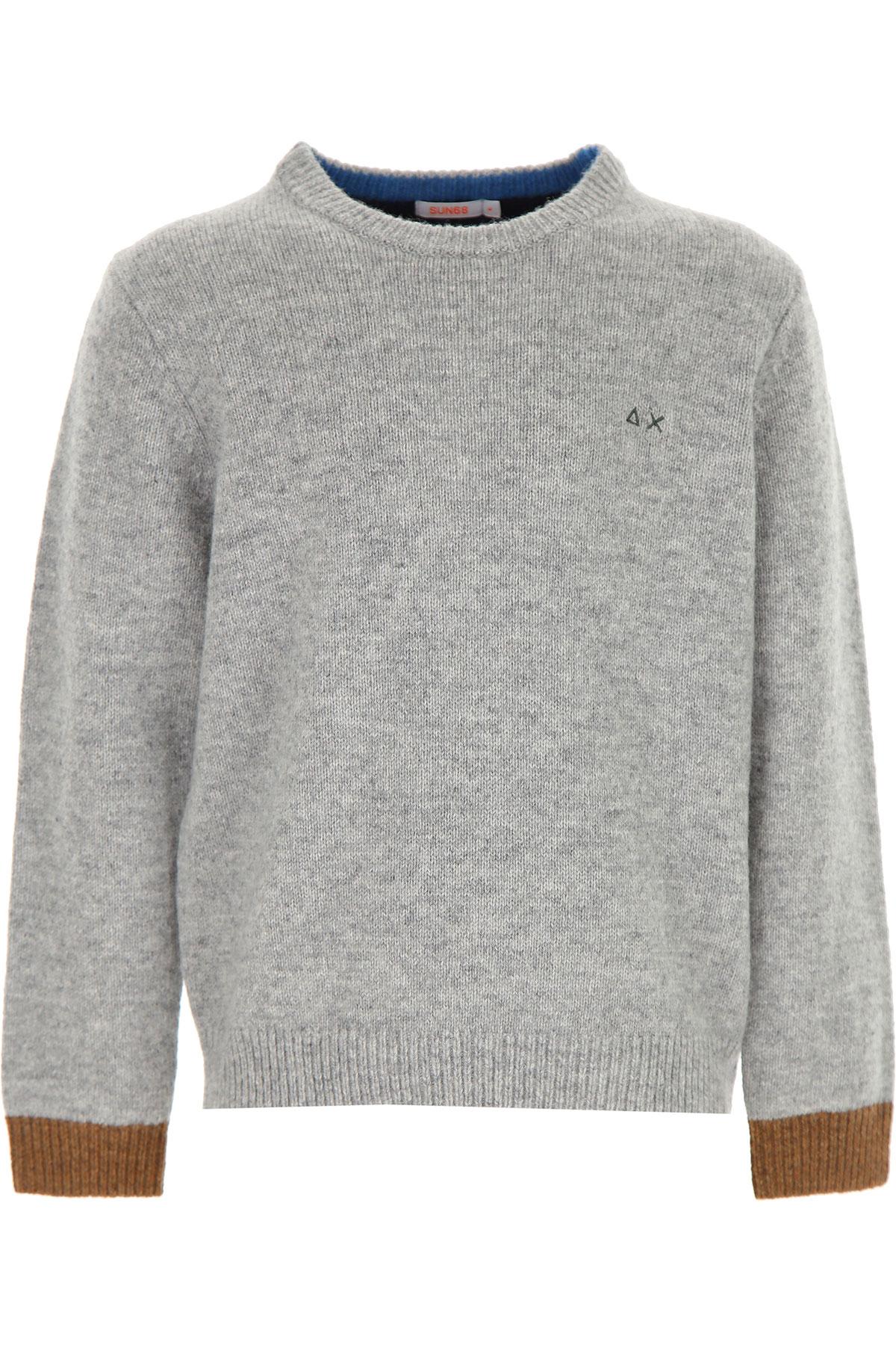 Sun68 Kids Sweaters for Boys On Sale, Grey, Wool, 2019, 10Y 12Y 4Y 6Y