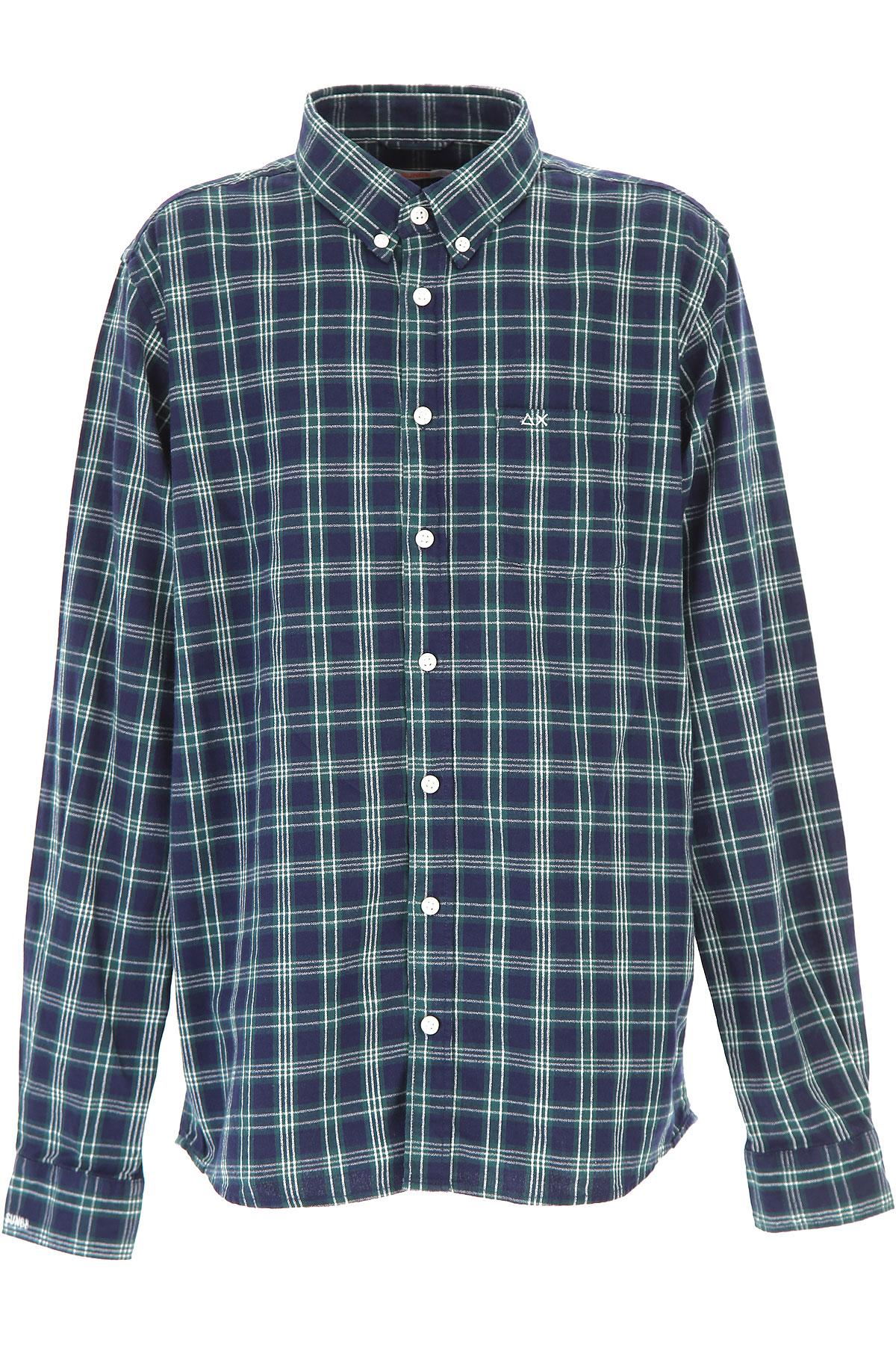 Image of Sun68 Kids Shirts for Boys, Dark Green, Cotton, 2017, 10Y 14Y 2Y 4Y 6Y 8Y
