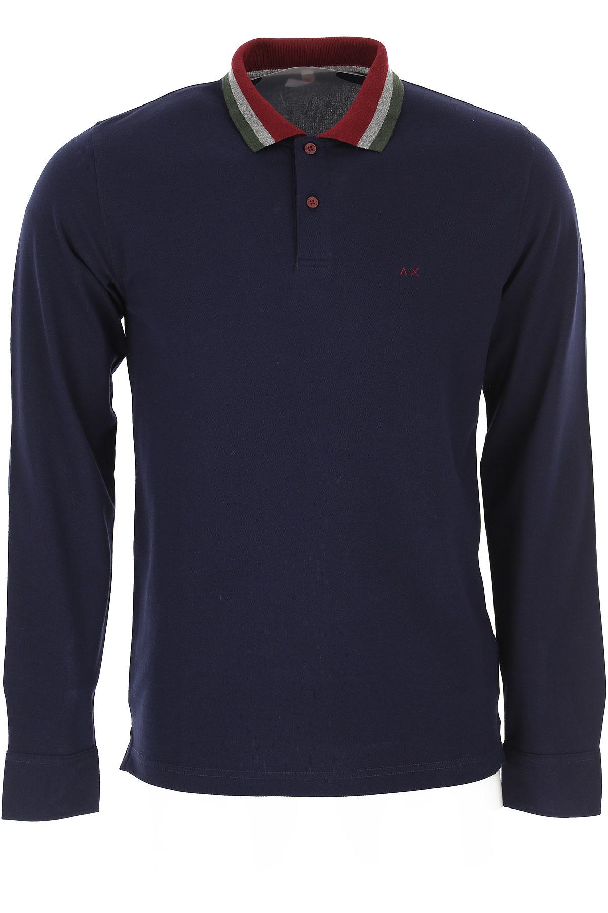 Sun68 Polo Shirt for Men On Sale, Navy Blue, Cotton, 2019, L M XL