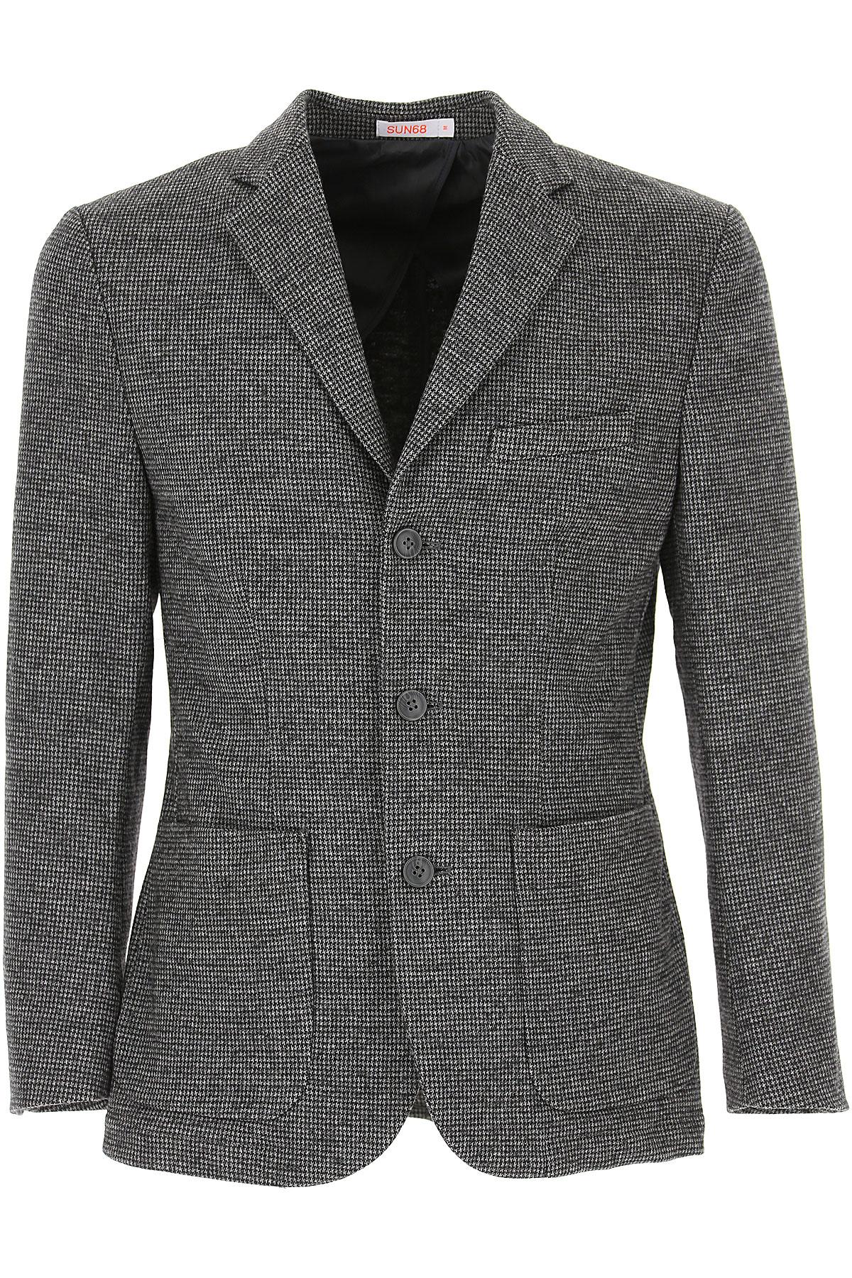 Sun68 Blazer for Men, Sport Coat On Sale, Grey, Cotton, 2019, L M XL