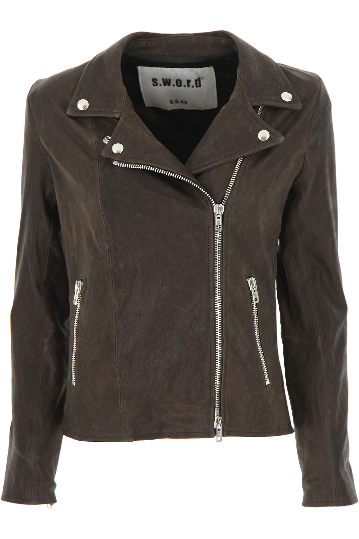 S.W.O.R.D Down Jacket for Women, Puffer Ski Jacket On Sale, Brown, Leather, 2019, FR 42 - IT 46 FR 44 - IT 48