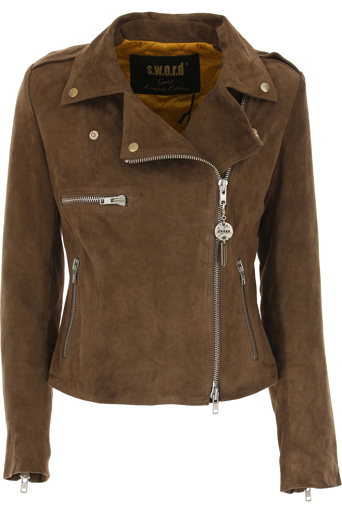 Image of S.W.O.R.D Leather Jacket for Women, Mud, Suede leather, 2017, FR 34 • IT 38 FR 36 • IT 40 FR 38 • IT 42 FR 40 • IT 44