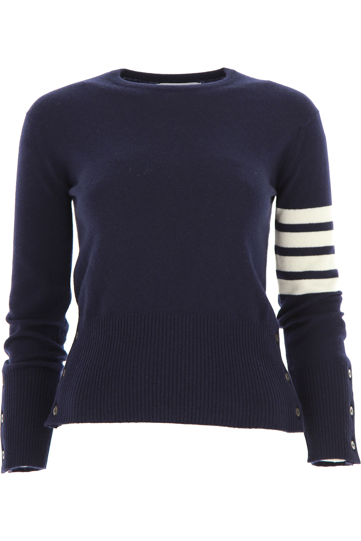 THOM BROWNE Sweater for Women Jumper On Sale, Navy Blue, Cashmere, 2019, 4 6
