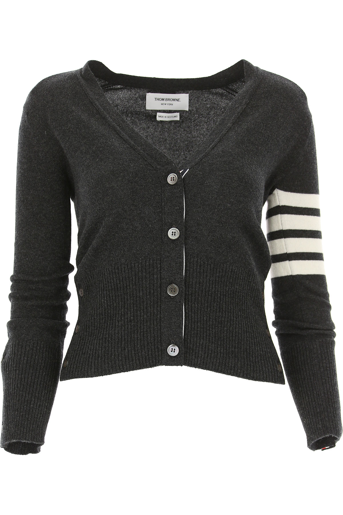 Image of THOM BROWNE Sweater for Women Jumper, Dark Anthracite Grey, Cashmere, 2017, 4 6 8
