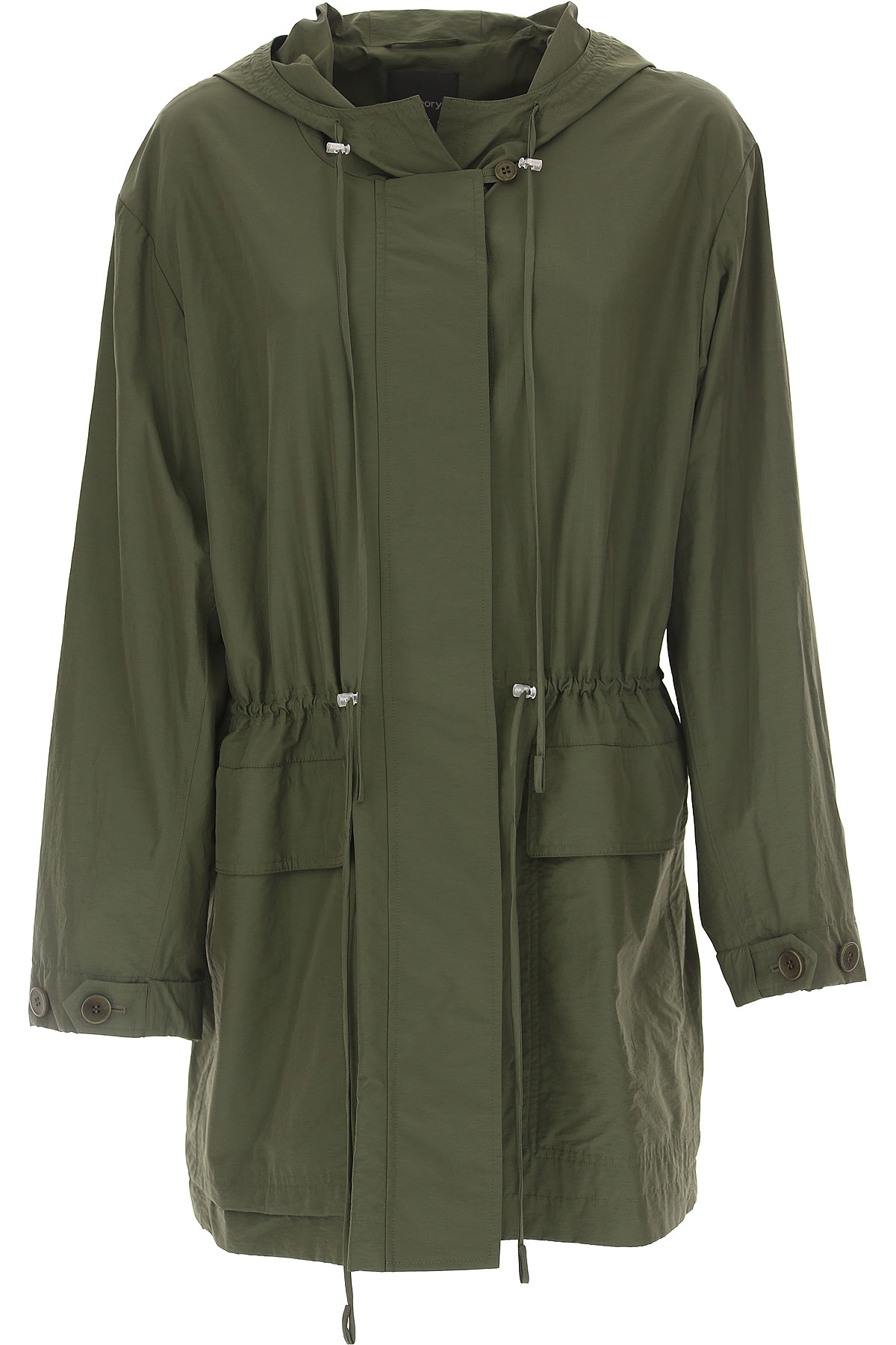 Image of Theory Women\'s Coat On Sale, Olive Green, Cotton, 2017, 4 6