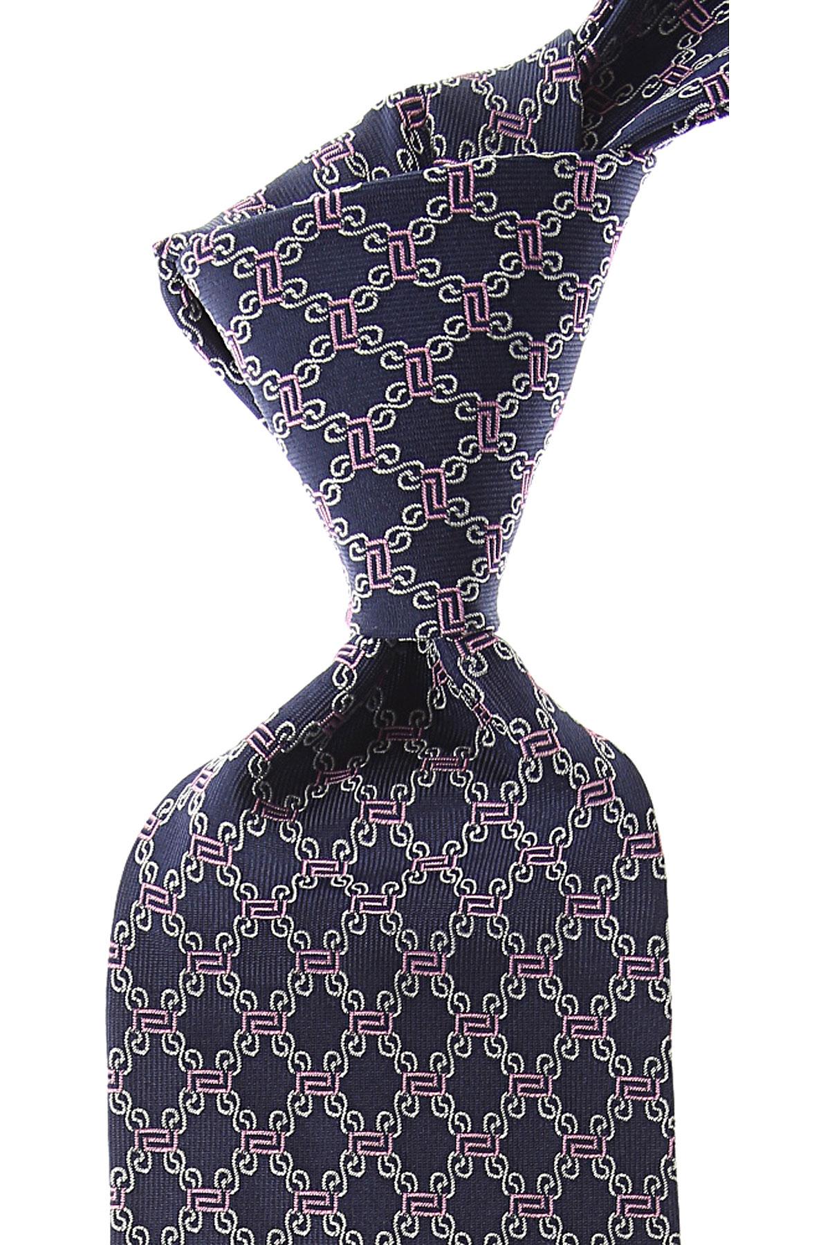 Gianni Versace Cravates Pas cher en Soldes, Bleu marine, Soie, 2021