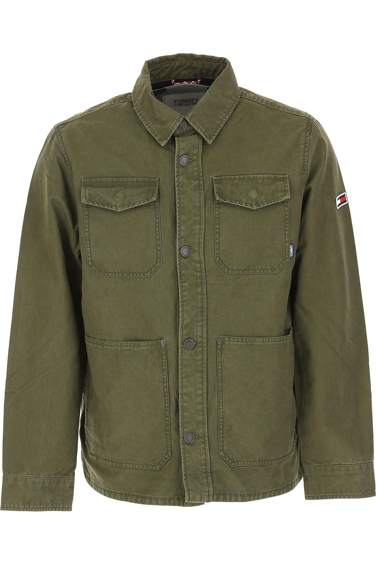 Tommy Hilfiger Jacket for Men On Sale, Olive Green, Cotton, 2019, L M S