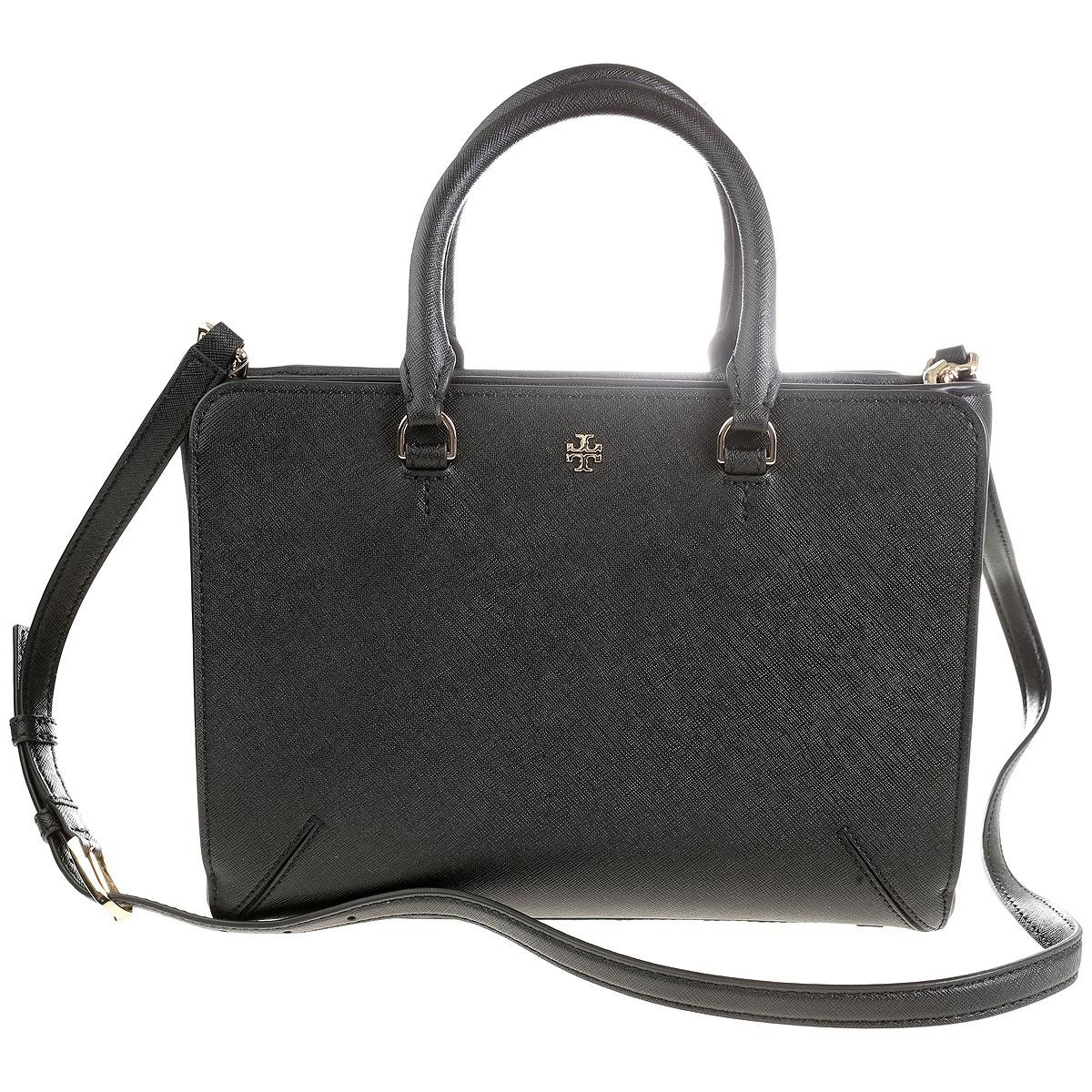 Tory Burch Top Handle Handbag On Sale, Black, Leather, 2017 USA-355466