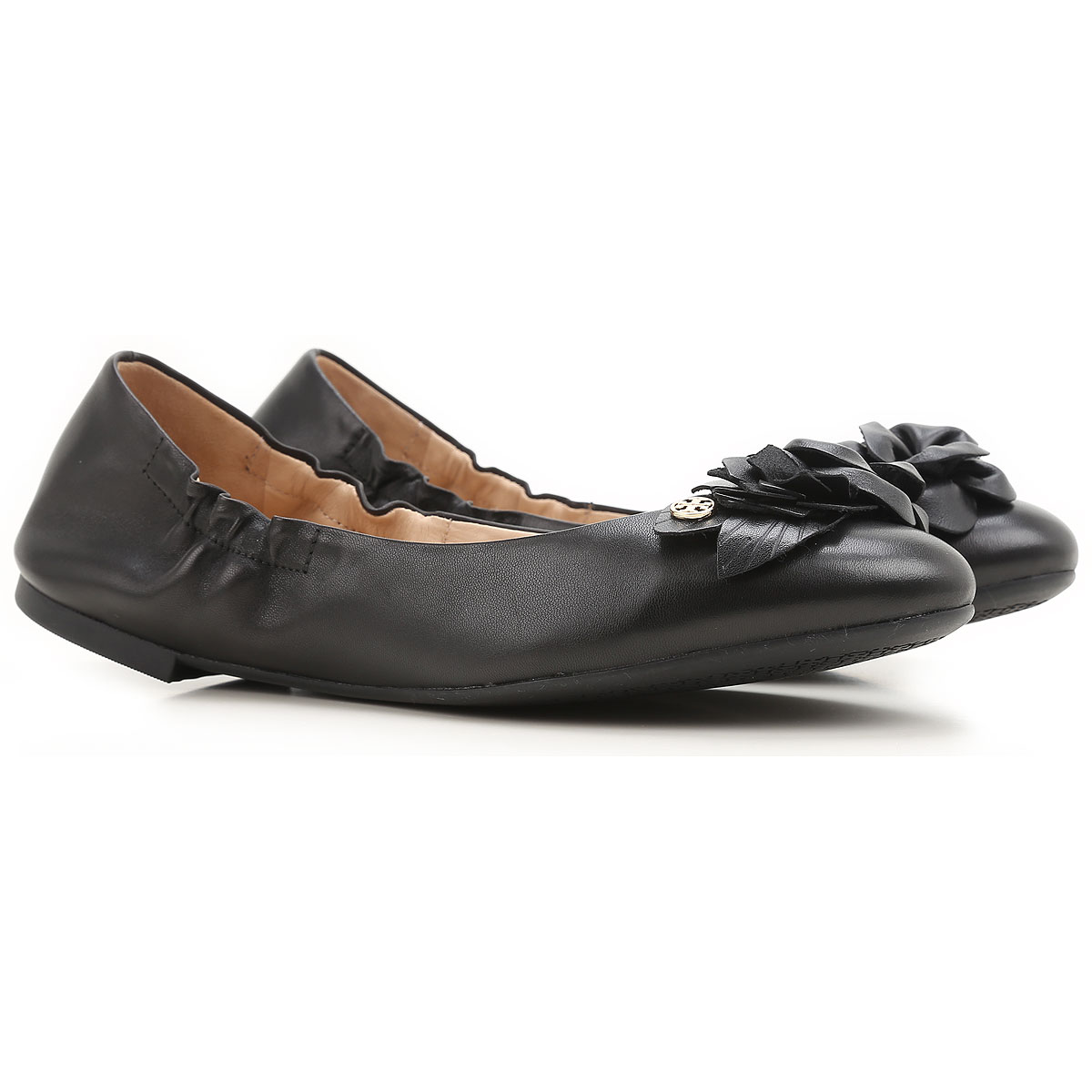 Image of Tory Burch Ballet Flats Ballerina Shoes for Women On Sale in Outlet, Black, Leather, 2017, 6 6.5 7