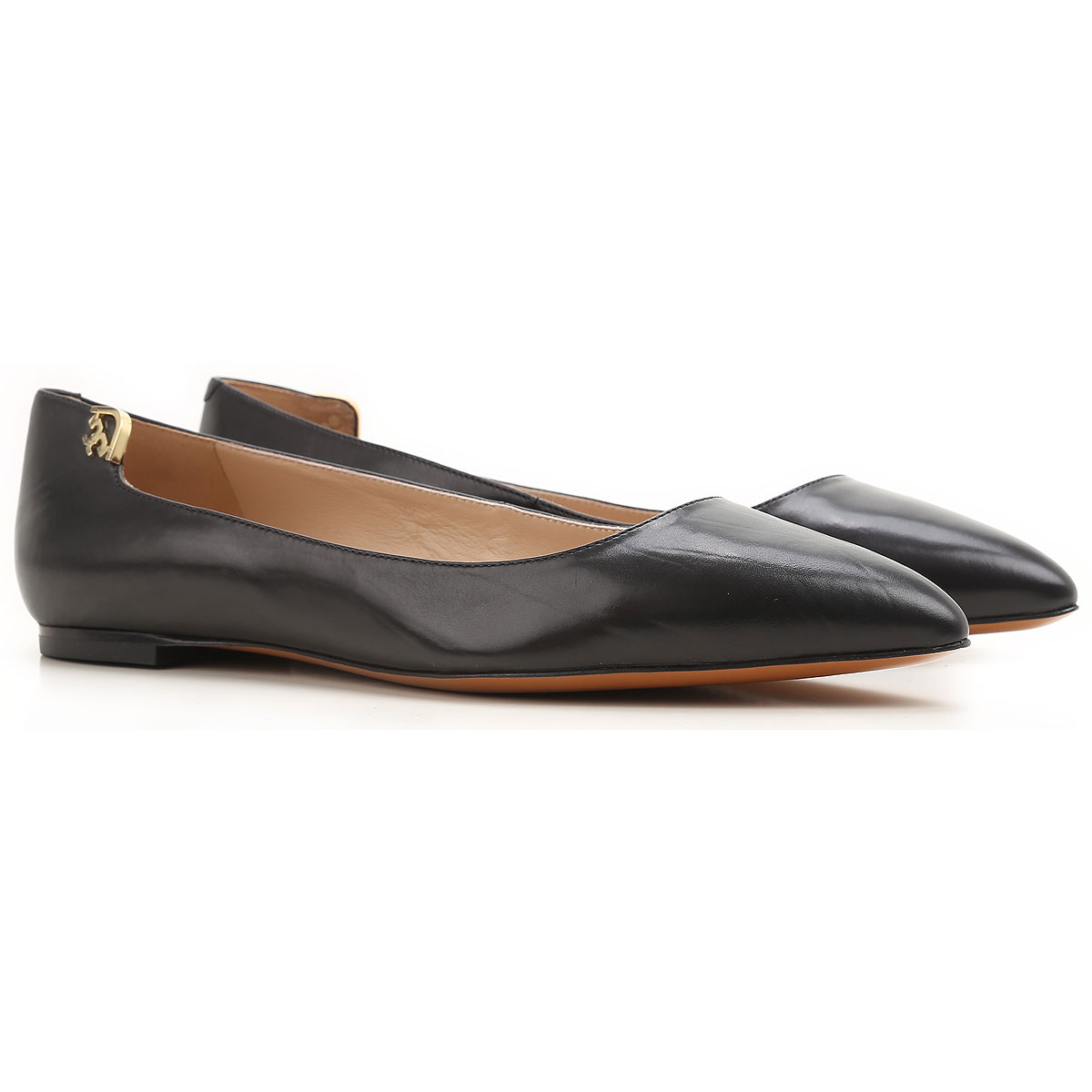 Image of Tory Burch Ballet Flats Ballerina Shoes for Women, Black, Leather, 2017, 10 6.5 7