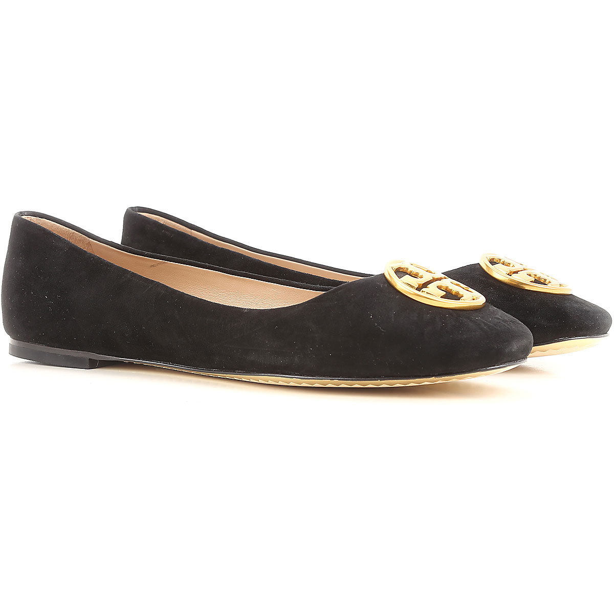 Image of Tory Burch Ballet Flats Ballerina Shoes for Women On Sale in Outlet, Black, Suede leather, 2017, 5.5 6
