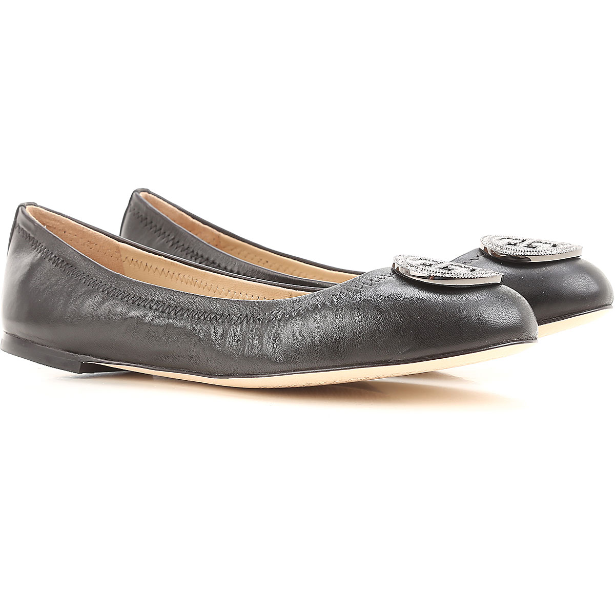 Tory Burch Ballet Flats Ballerina Shoes for Women On Sale in Outlet, Black, Leather, 2019, 6.5 9 9.5
