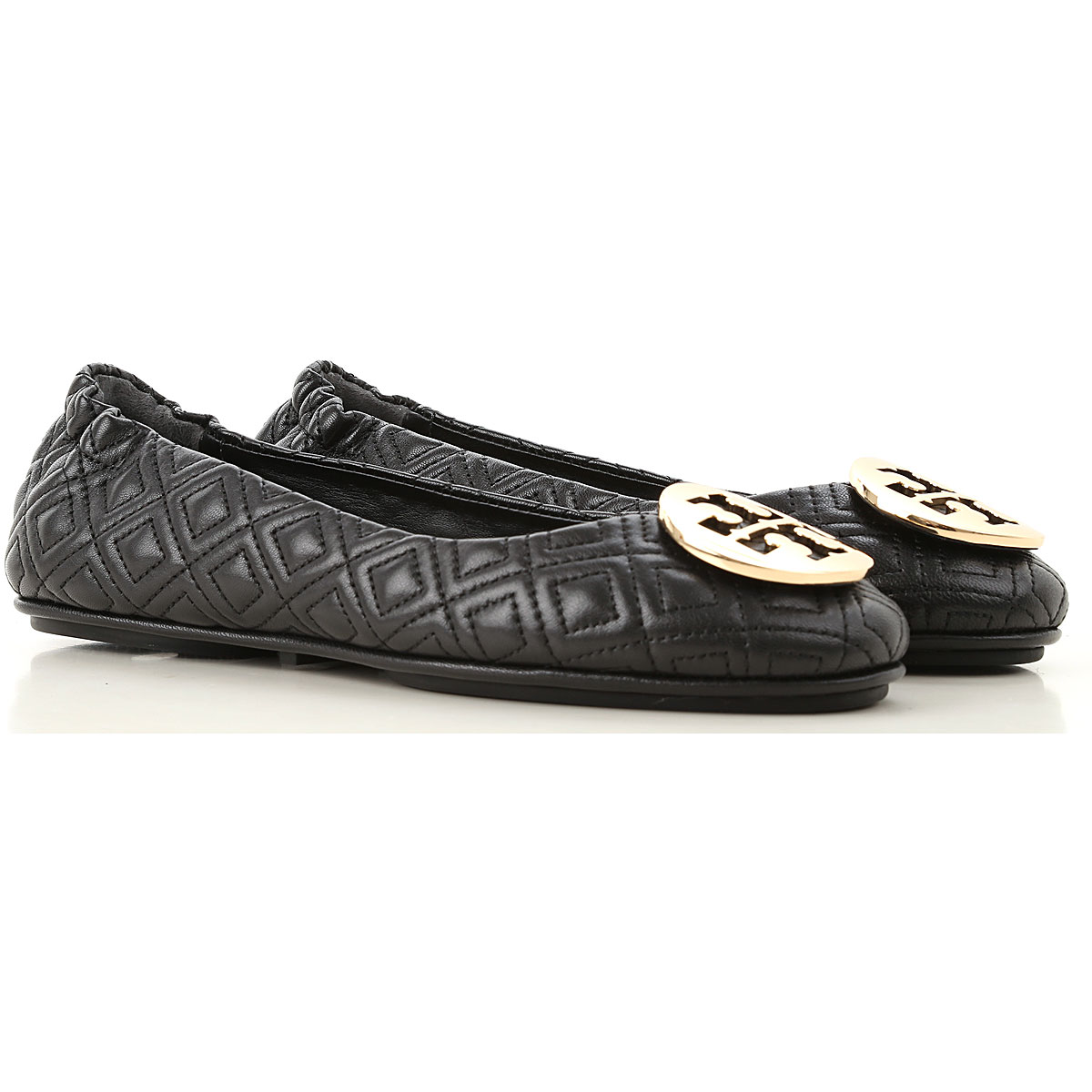 Tory Burch Ballet Flats Ballerina Shoes for Women On Sale, Black, Leather, 2019, 5 5.5 6 6.5 7