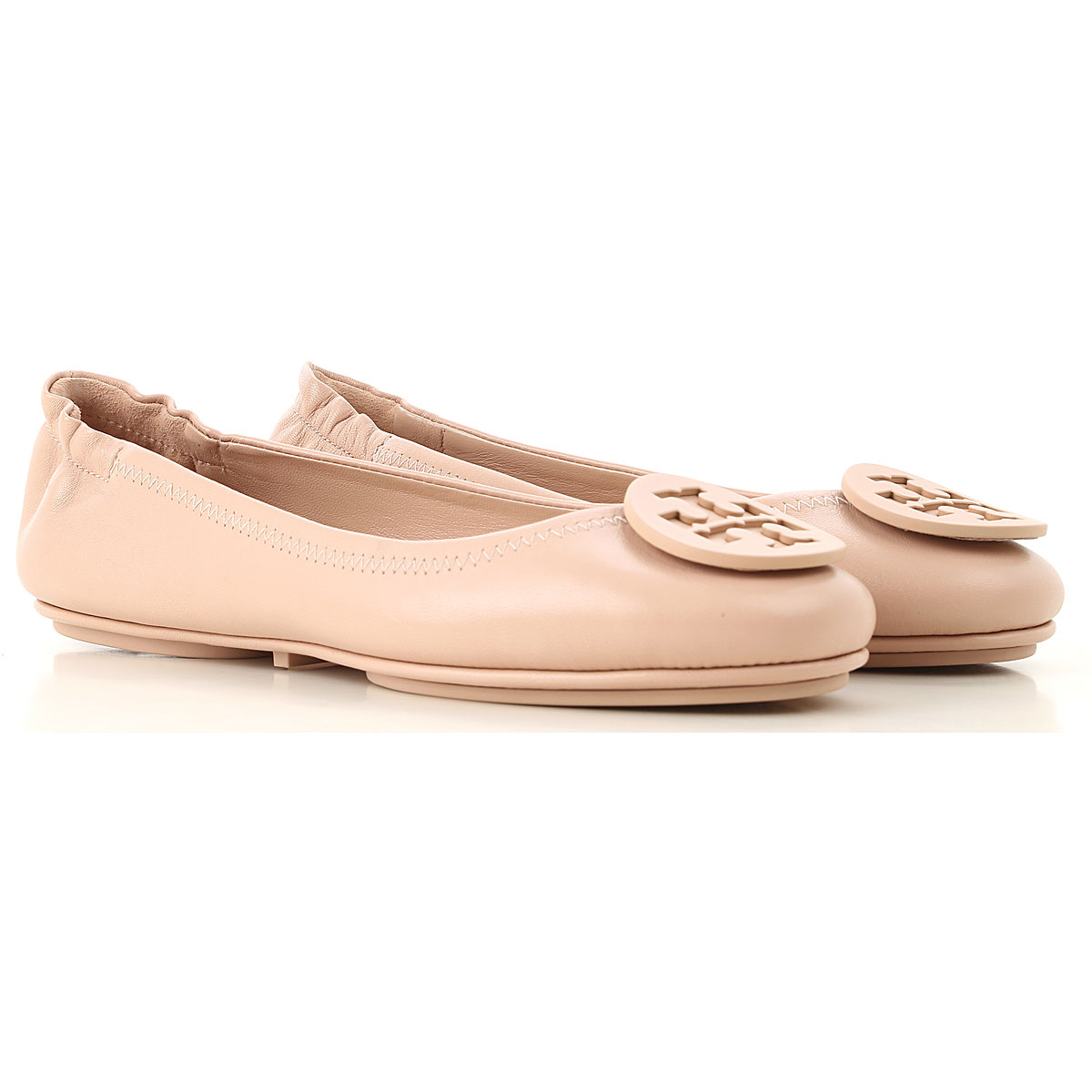 Image of Tory Burch Ballet Flats Ballerina Shoes for Women, Goan Sand, Leather, 2017, 10 7 8 9