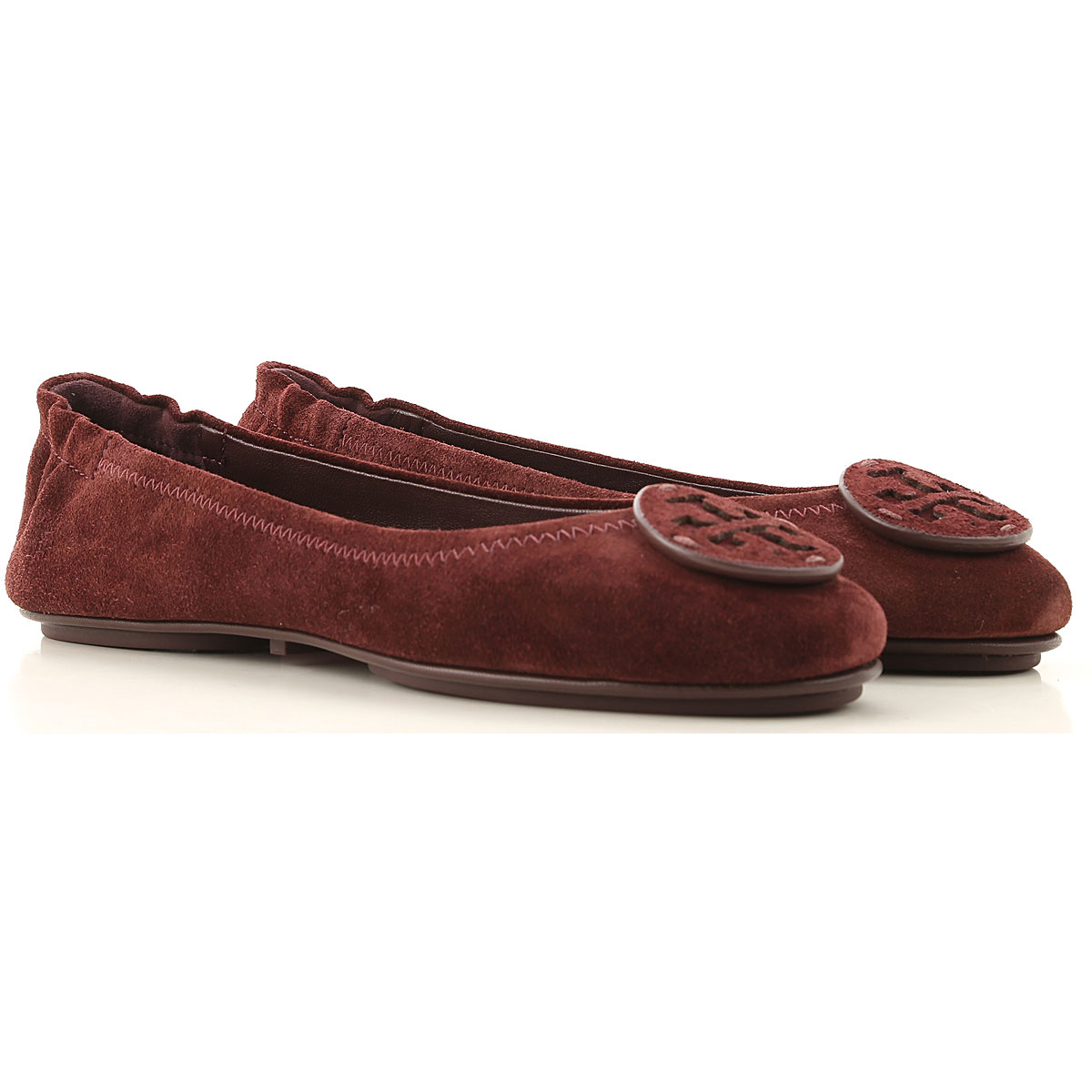 Tory Burch Ballet Flats Ballerina Shoes for Women On Sale, Black Cherry, Suede leather, 2019, 6 6.5 7 9