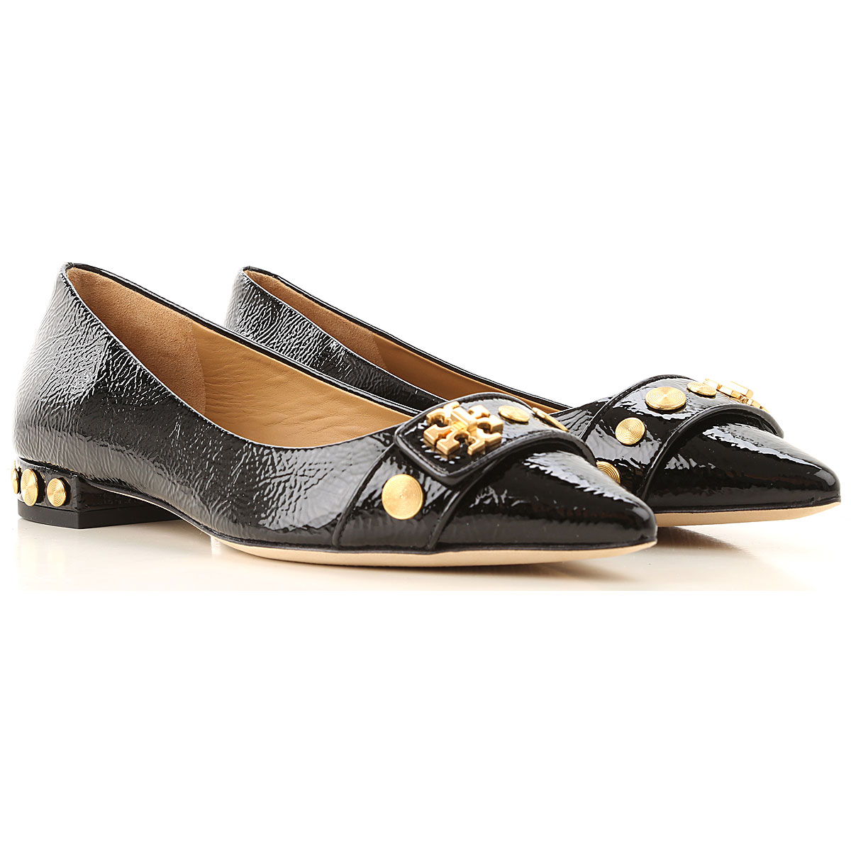 Tory Burch Ballet Flats Ballerina Shoes for Women On Sale, Perfect Black, Patent Leather, 2019, 7 8.5 9