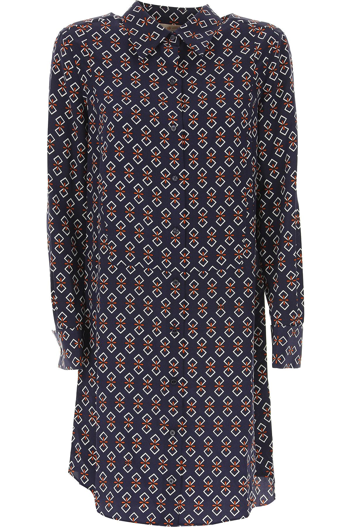 Tory Burch Dress for Women, Evening Cocktail Party, navy, Silk, 2017, IT 38 - US 0 - F 34 IT 40 - US 2 - F 36 IT 42 - US 4 - F 38 IT 44 - US 6 - F 40 USA-471360