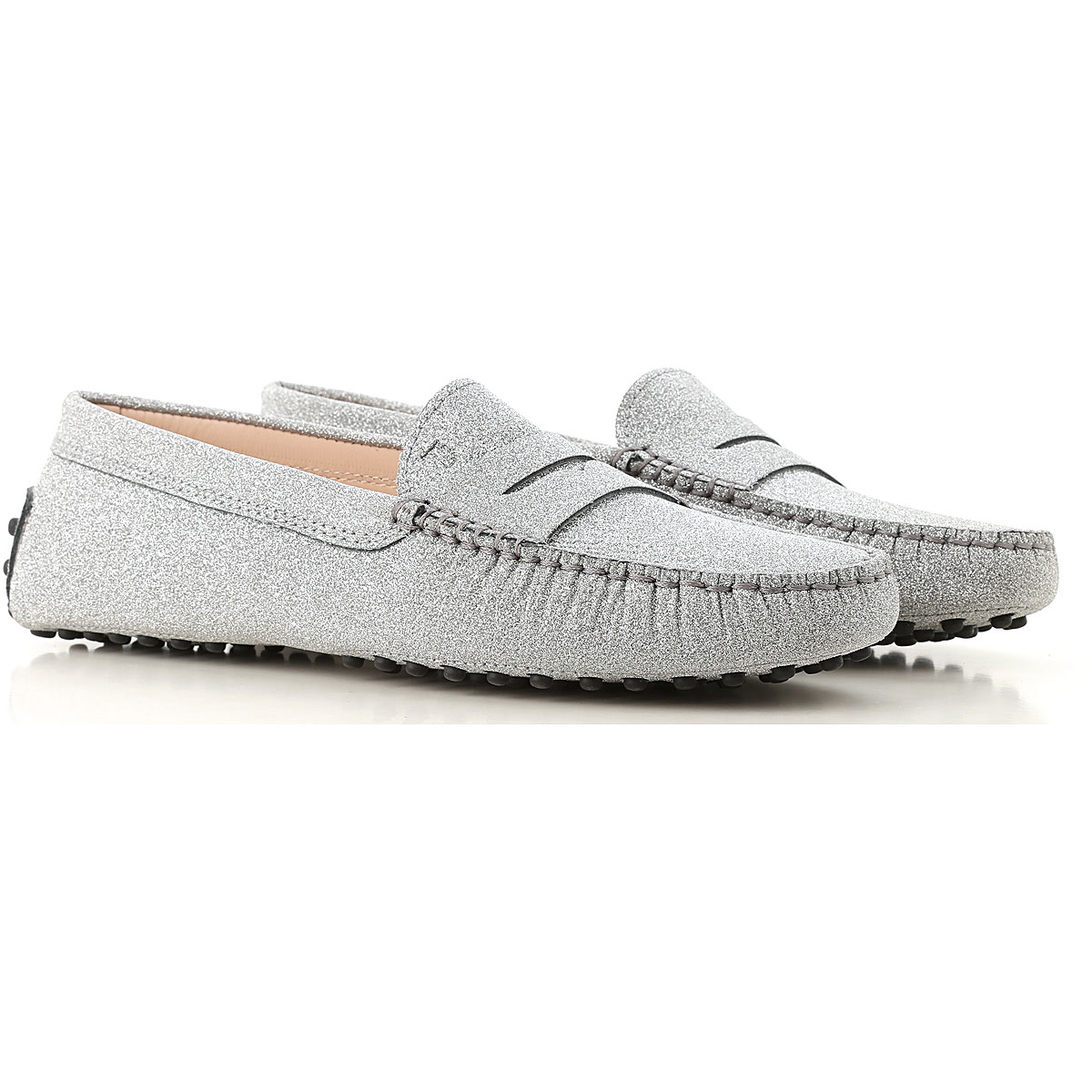 Image of Tods Driver Loafer Shoes for Women, Silver, Glitter, 2017, 10 11 5.5 6 6.5 7 8 8.5 9.5