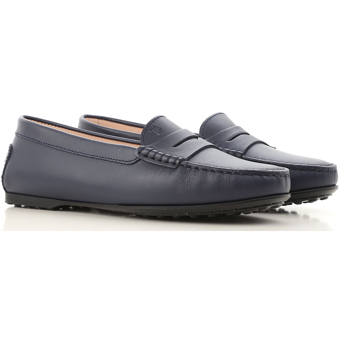 Image of Tods Driver Loafer Shoes for Women, Blue, Leather, 2017, 5 8.5 9.5