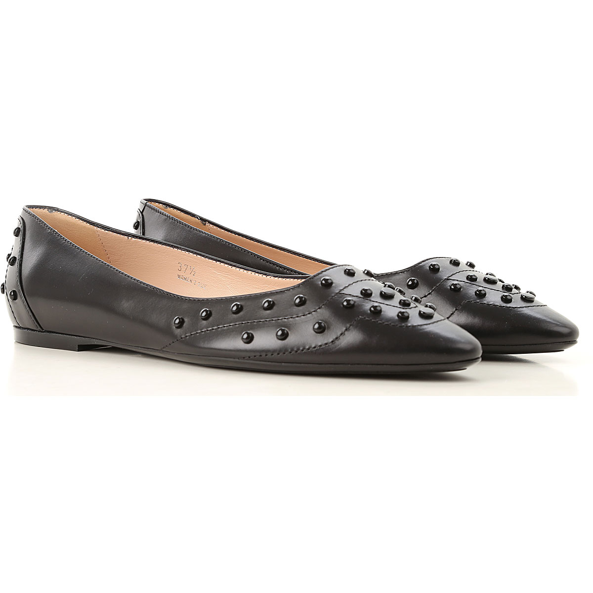 Image of Tods Ballet Flats Ballerina Shoes for Women, Black, Leather, 2017, 10 6
