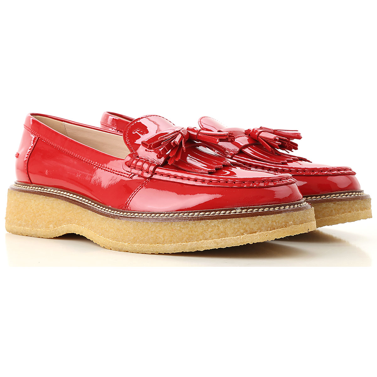 Tods Loafers moterims , Ruby Red, Patent oda, 2019, 37 38