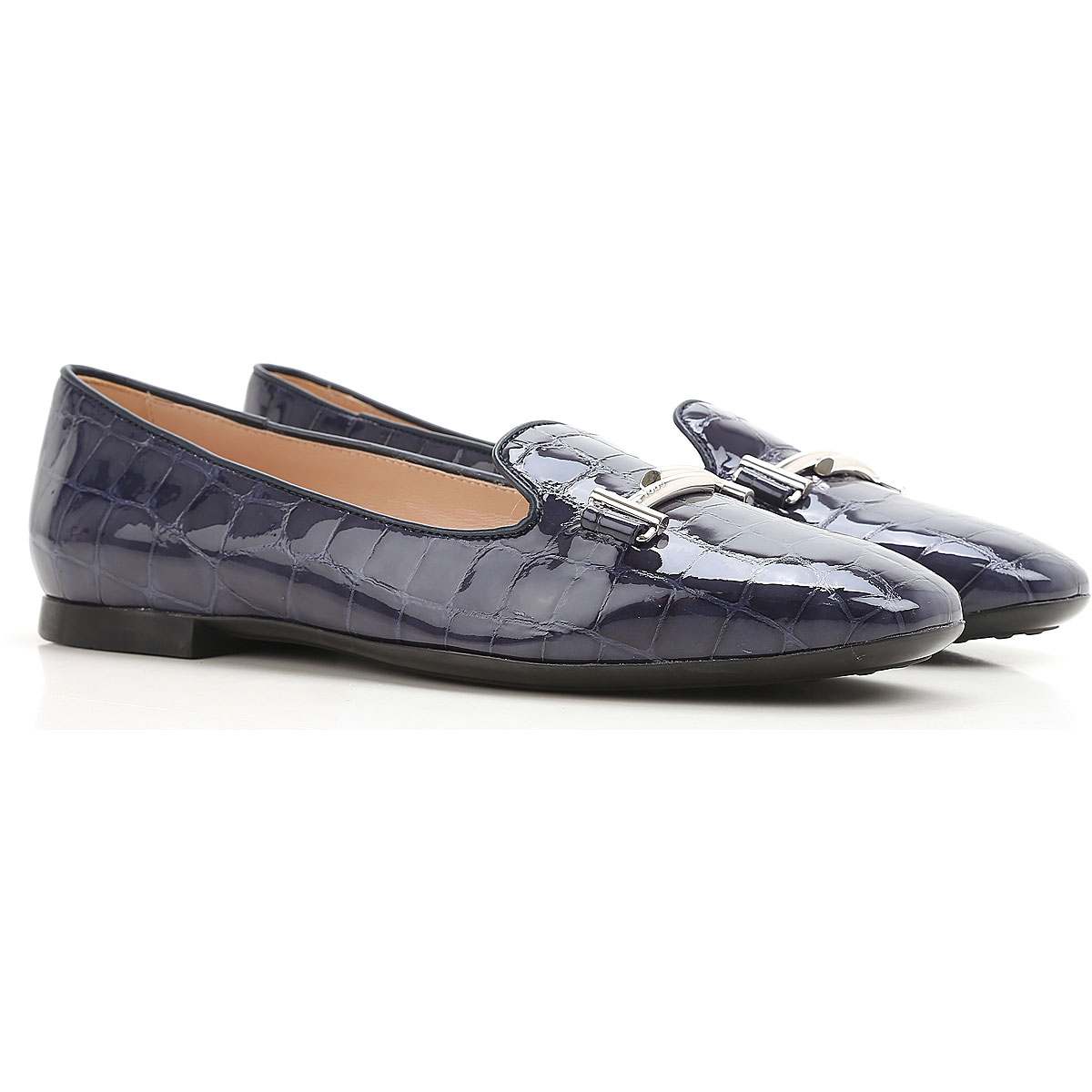 Image of Tods Ballet Flats Ballerina Shoes for Women On Sale, Blue, Patent, 2017, 10.5 7 9.5
