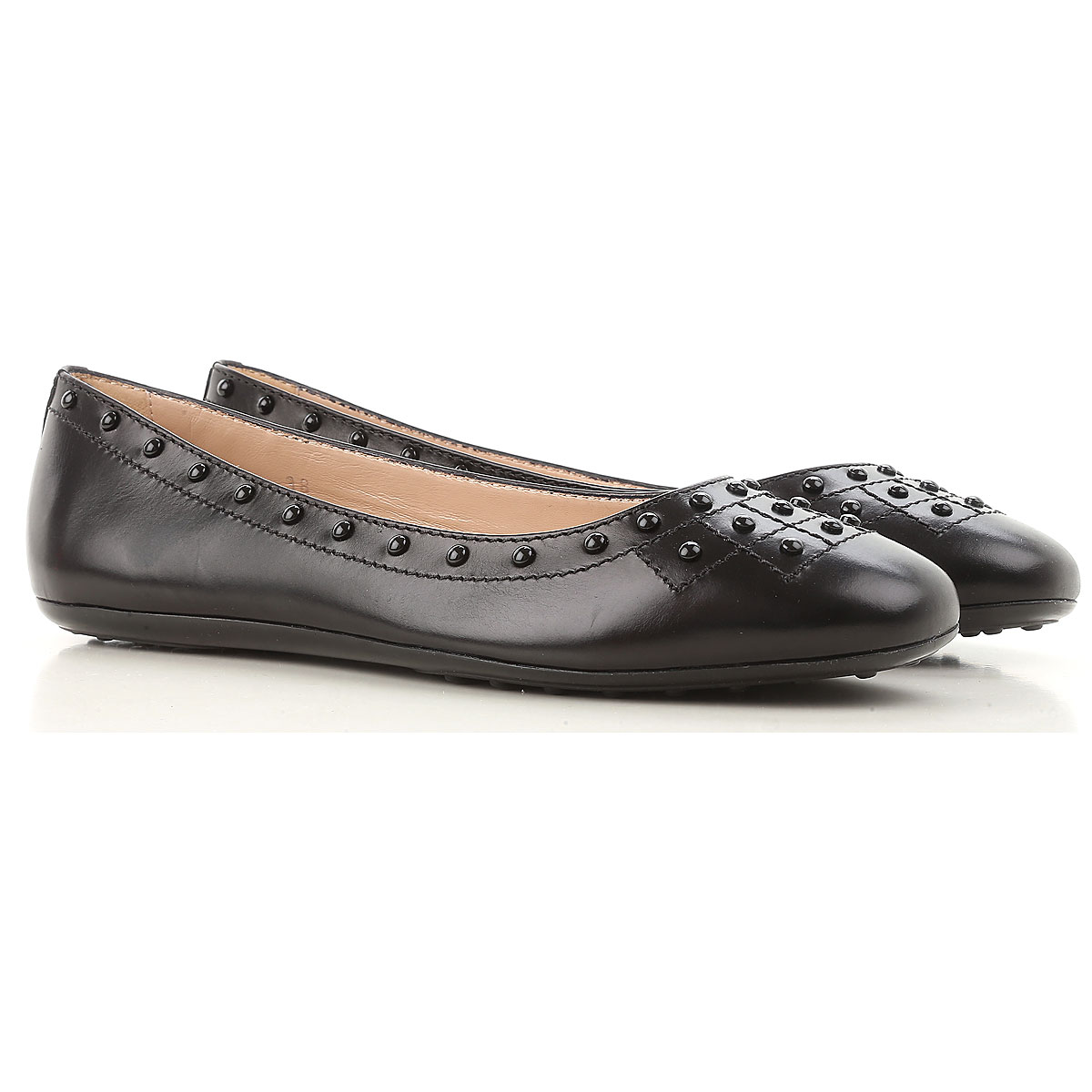 Image of Tods Ballet Flats Ballerina Shoes for Women On Sale, Black, Leather, 2017, 8 8.5