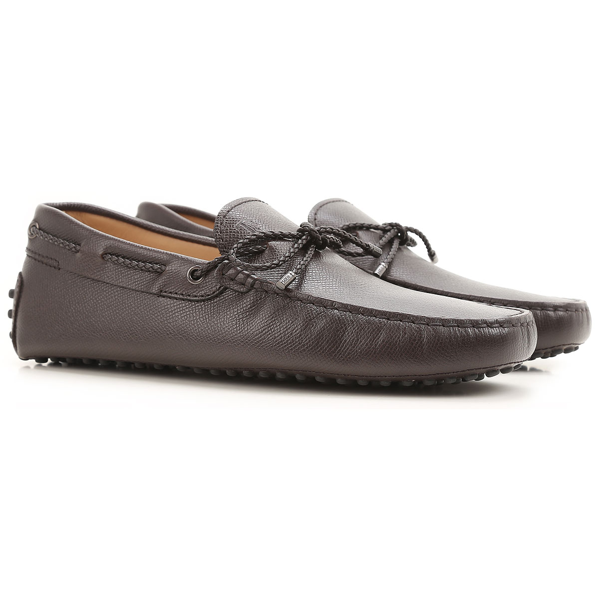 Image of Tods Driver Loafer Shoes for Men, Dark Brown, Leather, 2017, 6 7