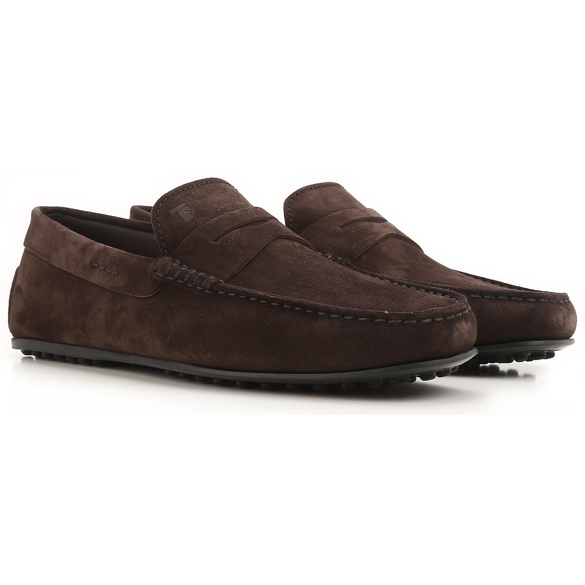 Image of Tods Driver Loafer Shoes for Men, Dark Brown, suede, 2017, 10 10.5 11 11.5 12 6 7 7.5 8 8.5 9 9.5