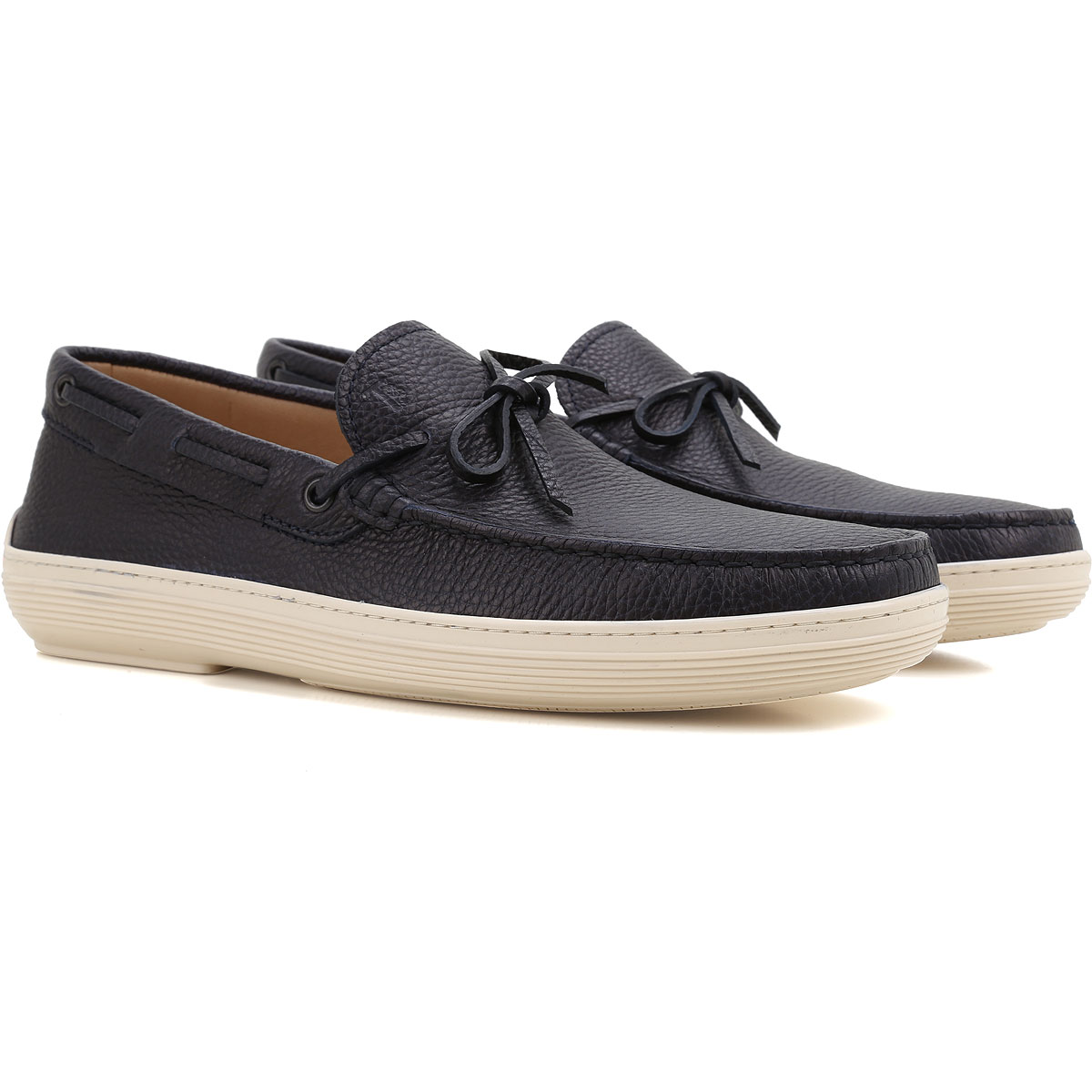 Image of Tods Boat Shoes for Men, Deck Shoes On Sale, Dark Navy Blue, Leather, 2017, 10 7 8